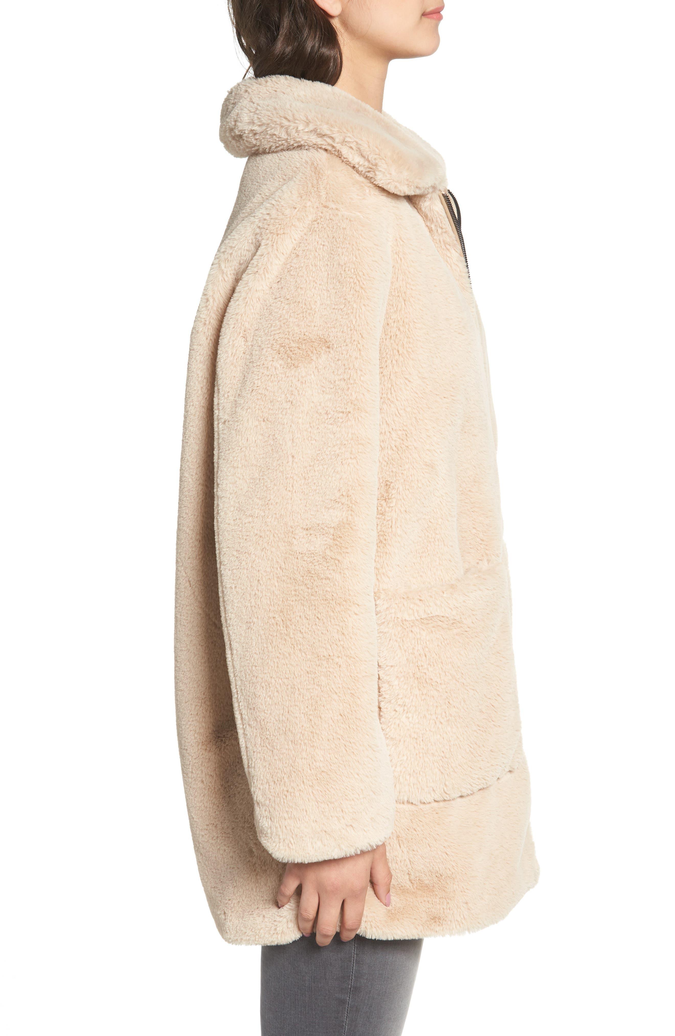 Faux Fur Coat,                             Alternate thumbnail 3, color,                             BLUSH BEIGE