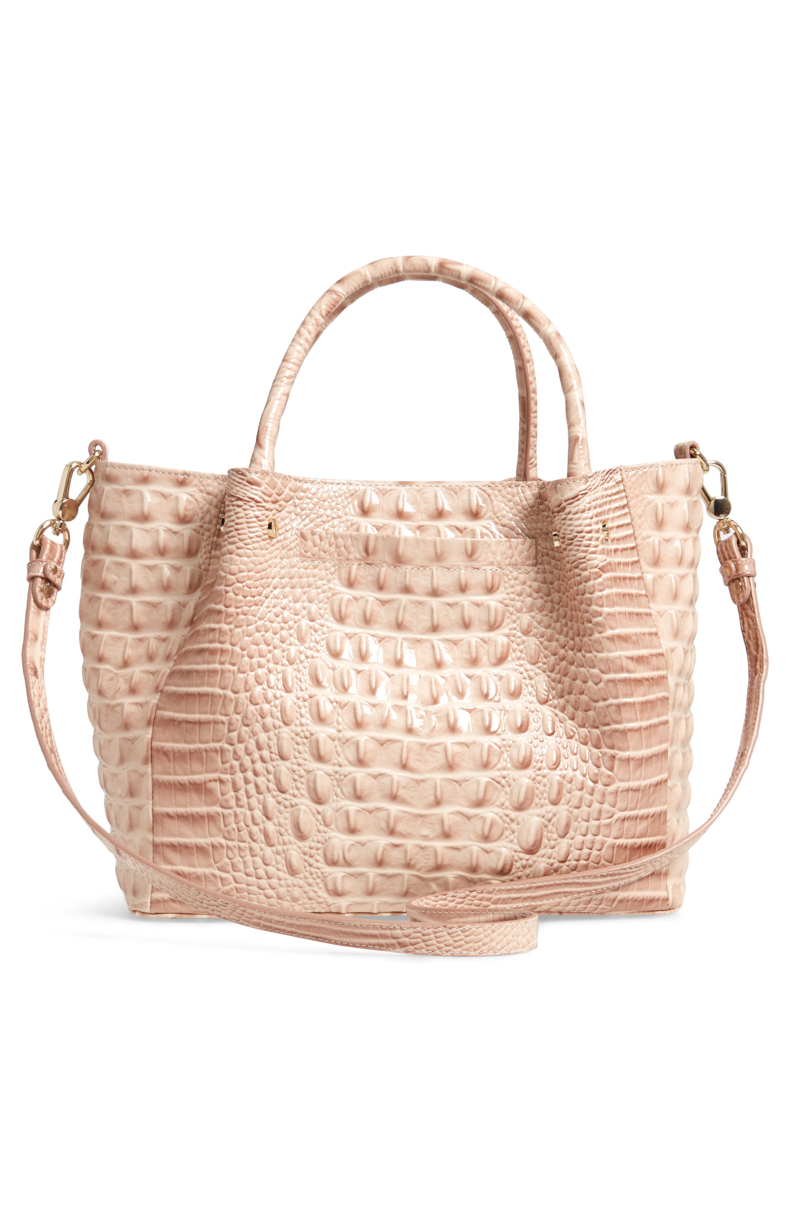 Small Mallory Croc Embossed Leather Satchel,                             Alternate thumbnail 3, color,                             BLOSSOM MELBOURNE