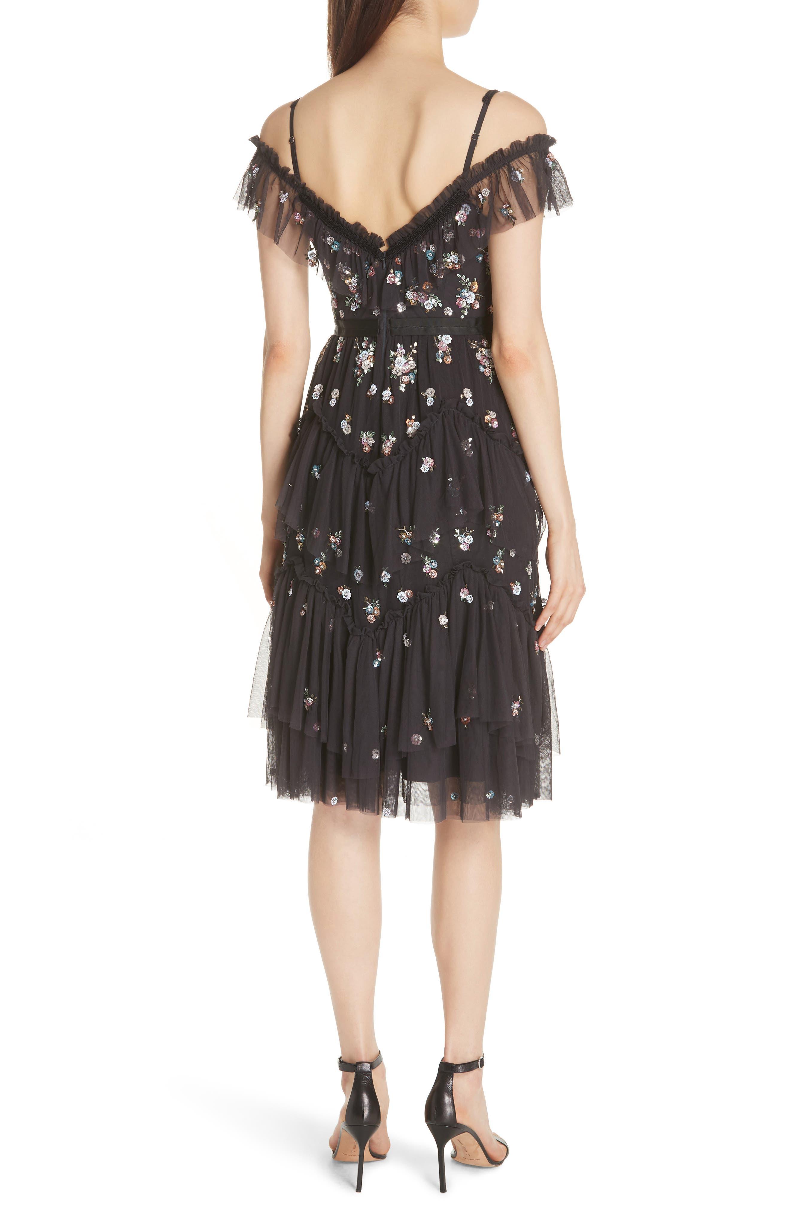 Lustre Cold Shoulder Dress,                             Alternate thumbnail 2, color,                             GRAPHITE