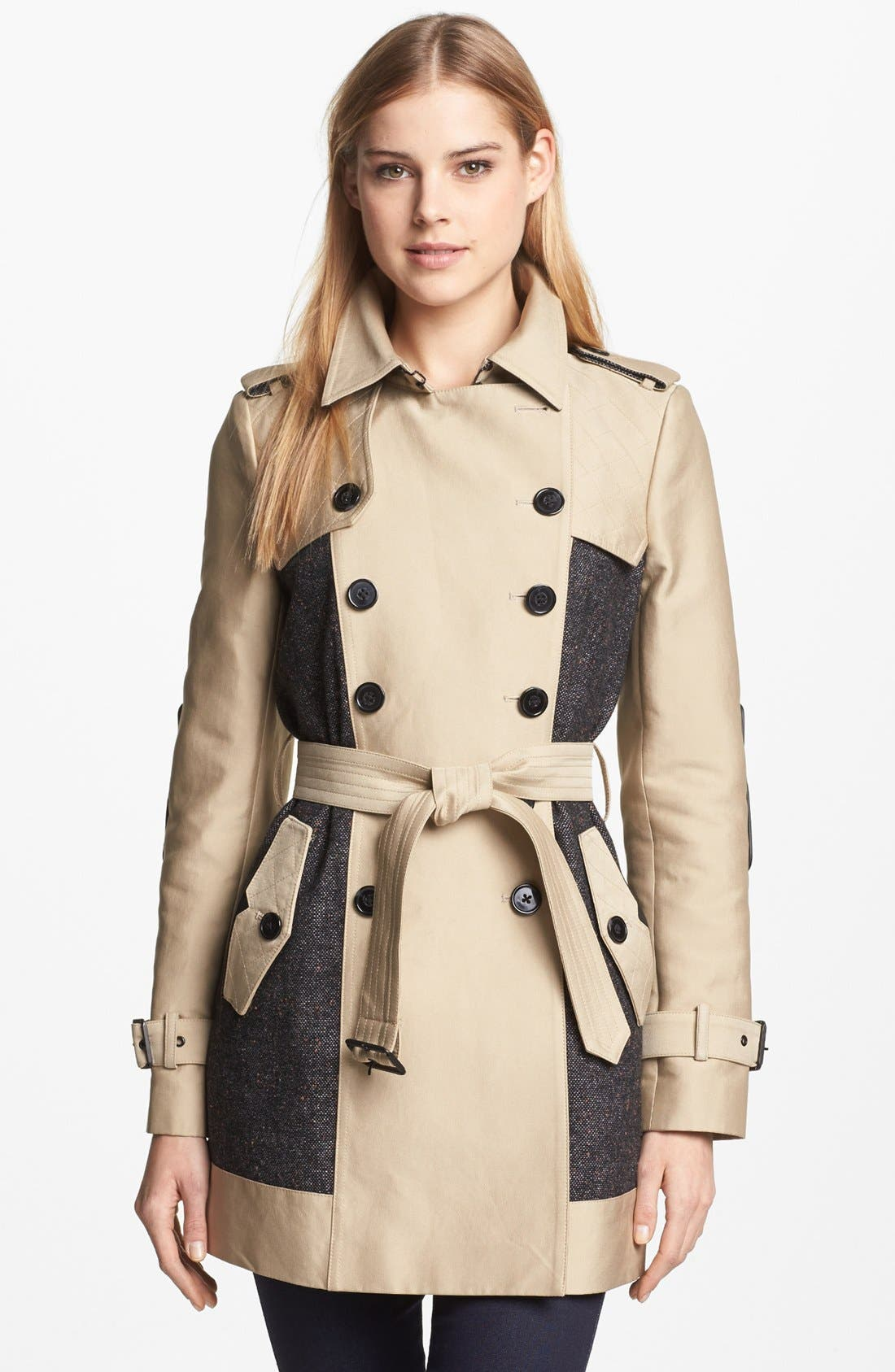 SAM EDELMAN Double Breasted Wool Inset Trench Coat, Main, color, 250