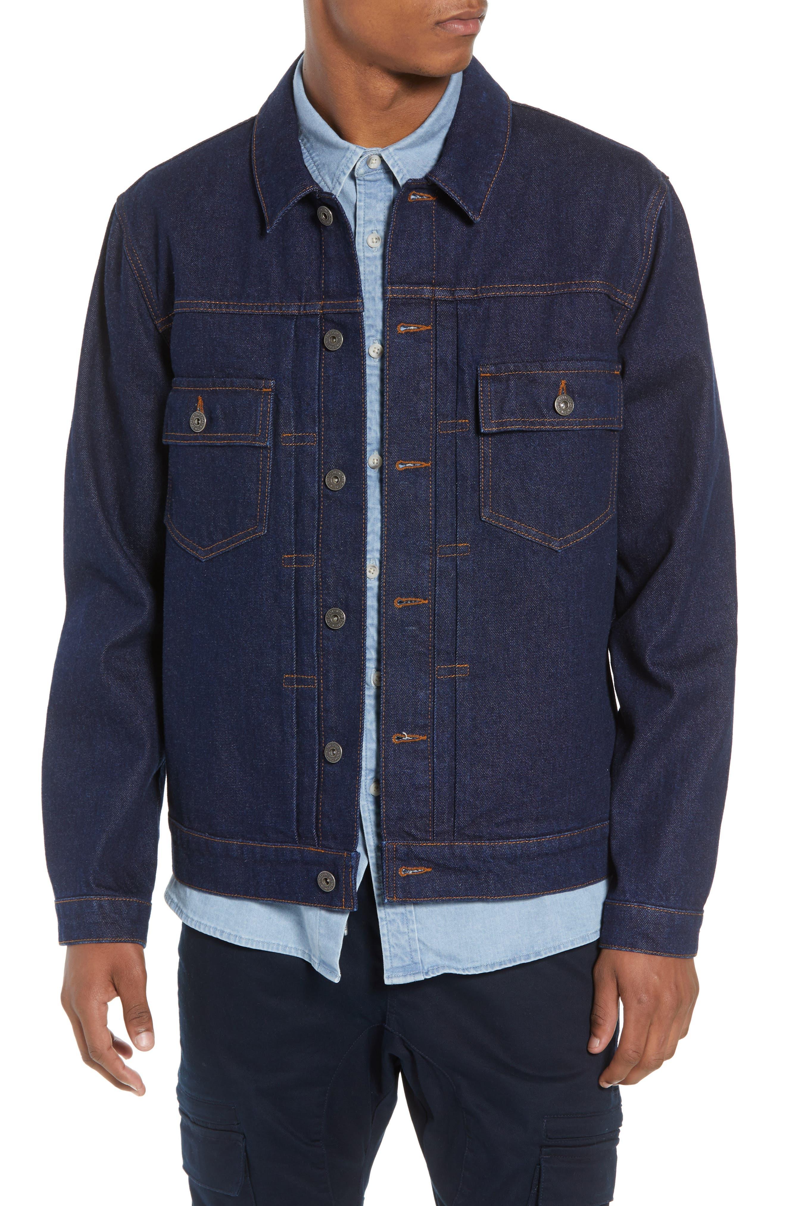 Raw Denim Jacket,                             Main thumbnail 1, color,                             DARK BLUE