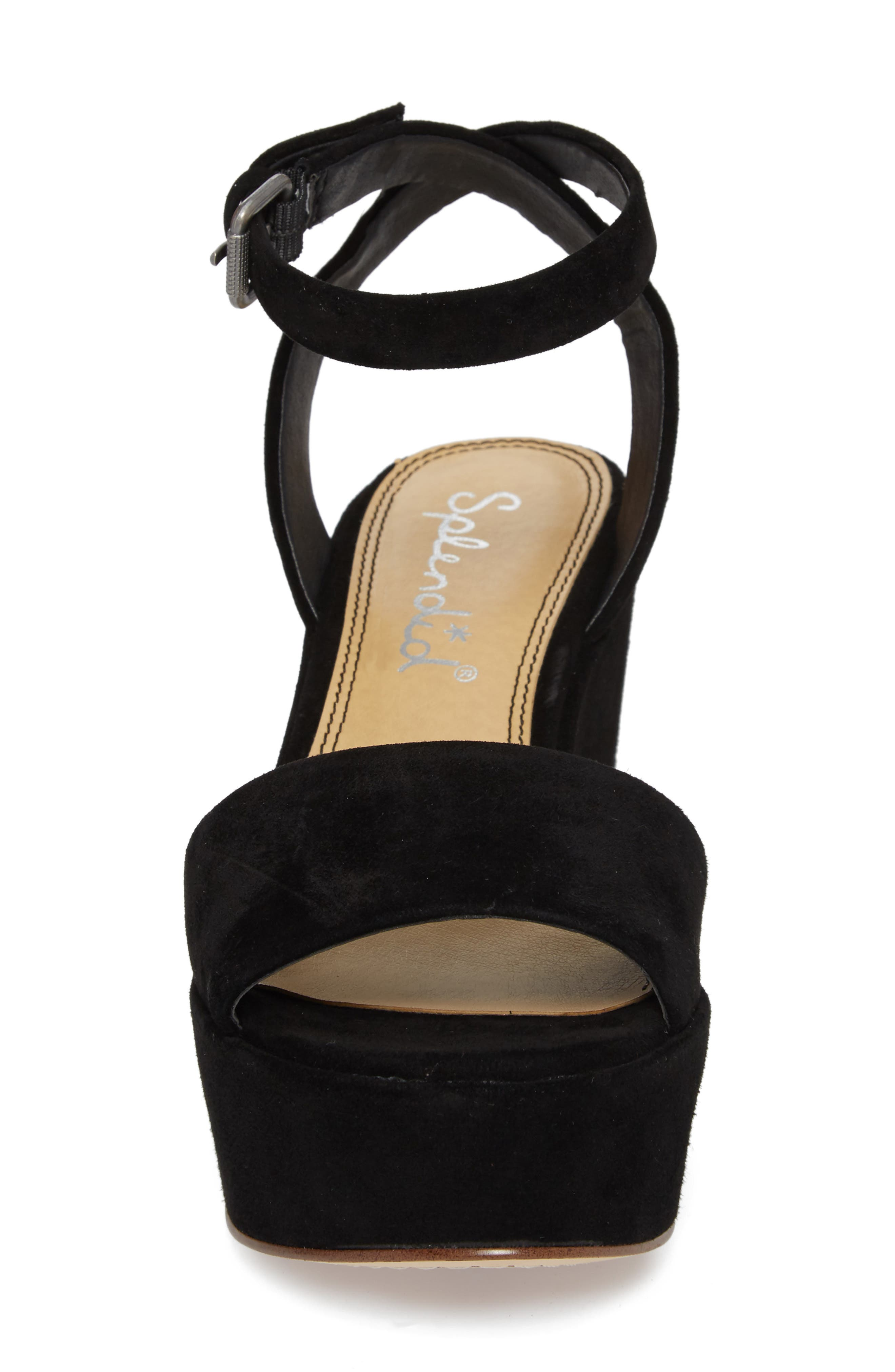 Felix Platform Wedge Sandal,                             Alternate thumbnail 4, color,                             BLACK SUEDE