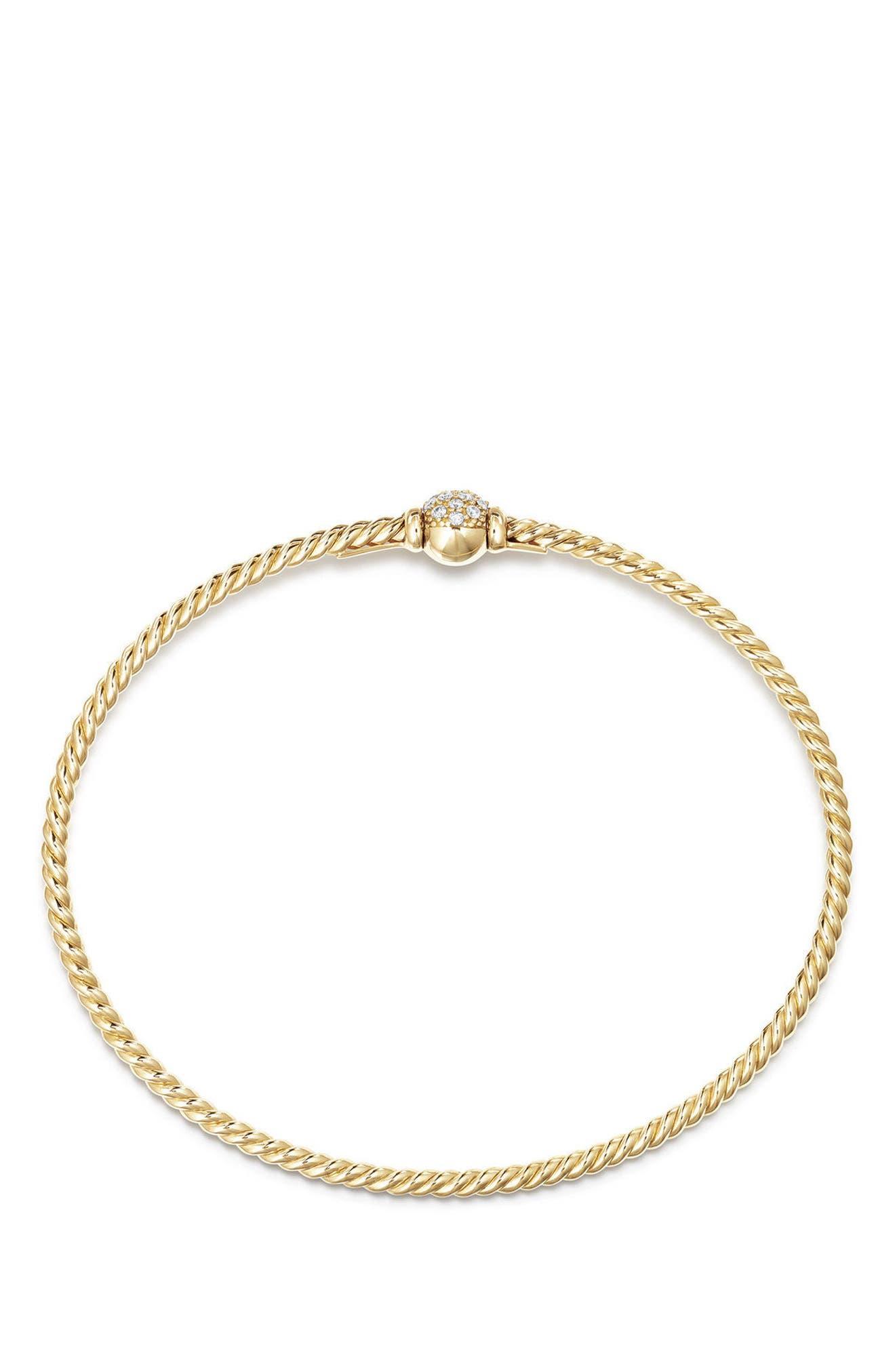 Solari Station Pavé Bracelet with Diamonds in 18K Gold,                             Alternate thumbnail 2, color,                             YELLOW GOLD/ DIAMOND