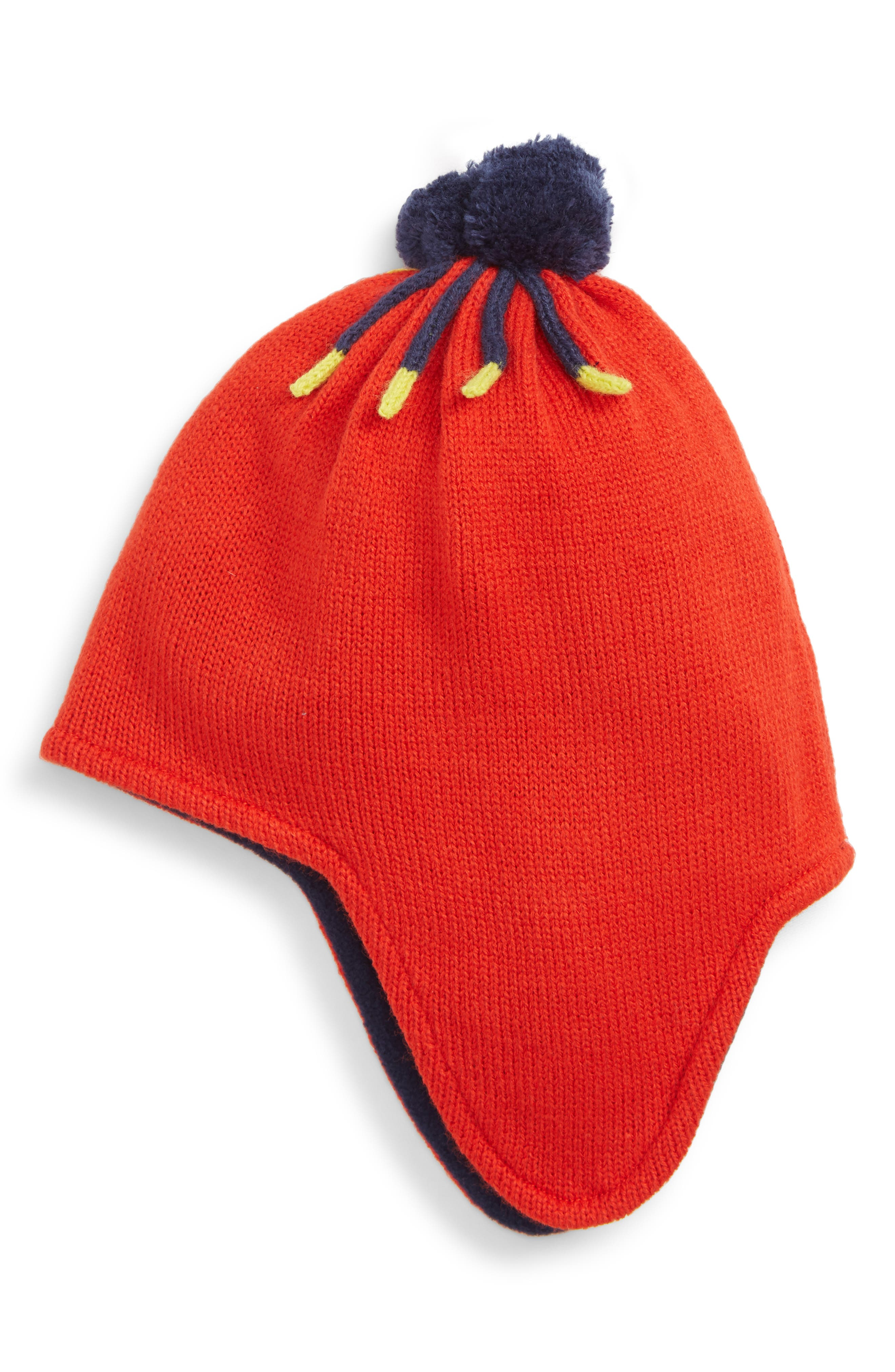 Boys Mini Boden Pom Cable Knit Hat
