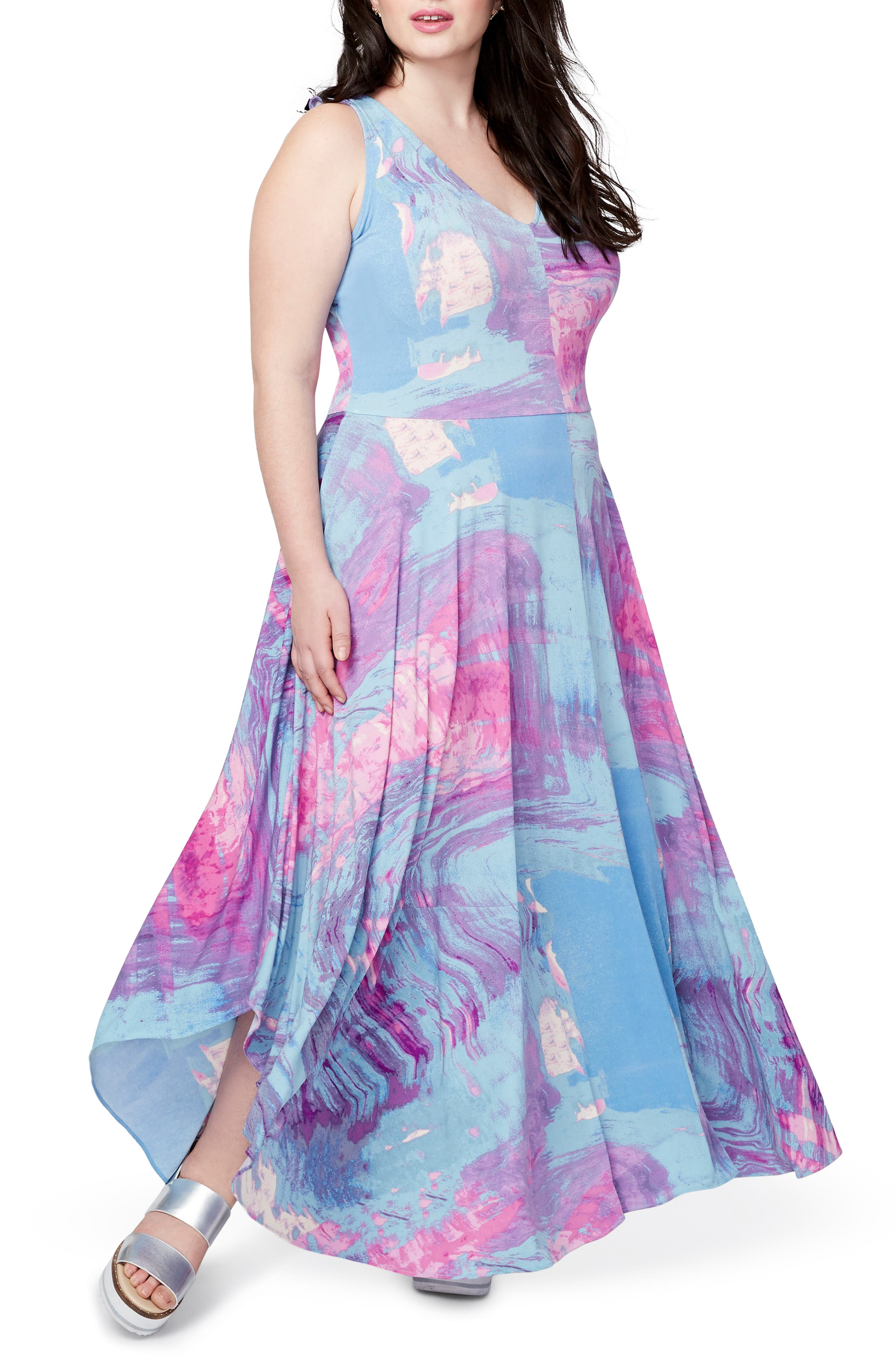 Round Hem Print Maxi Dress,                             Main thumbnail 1, color,                             523