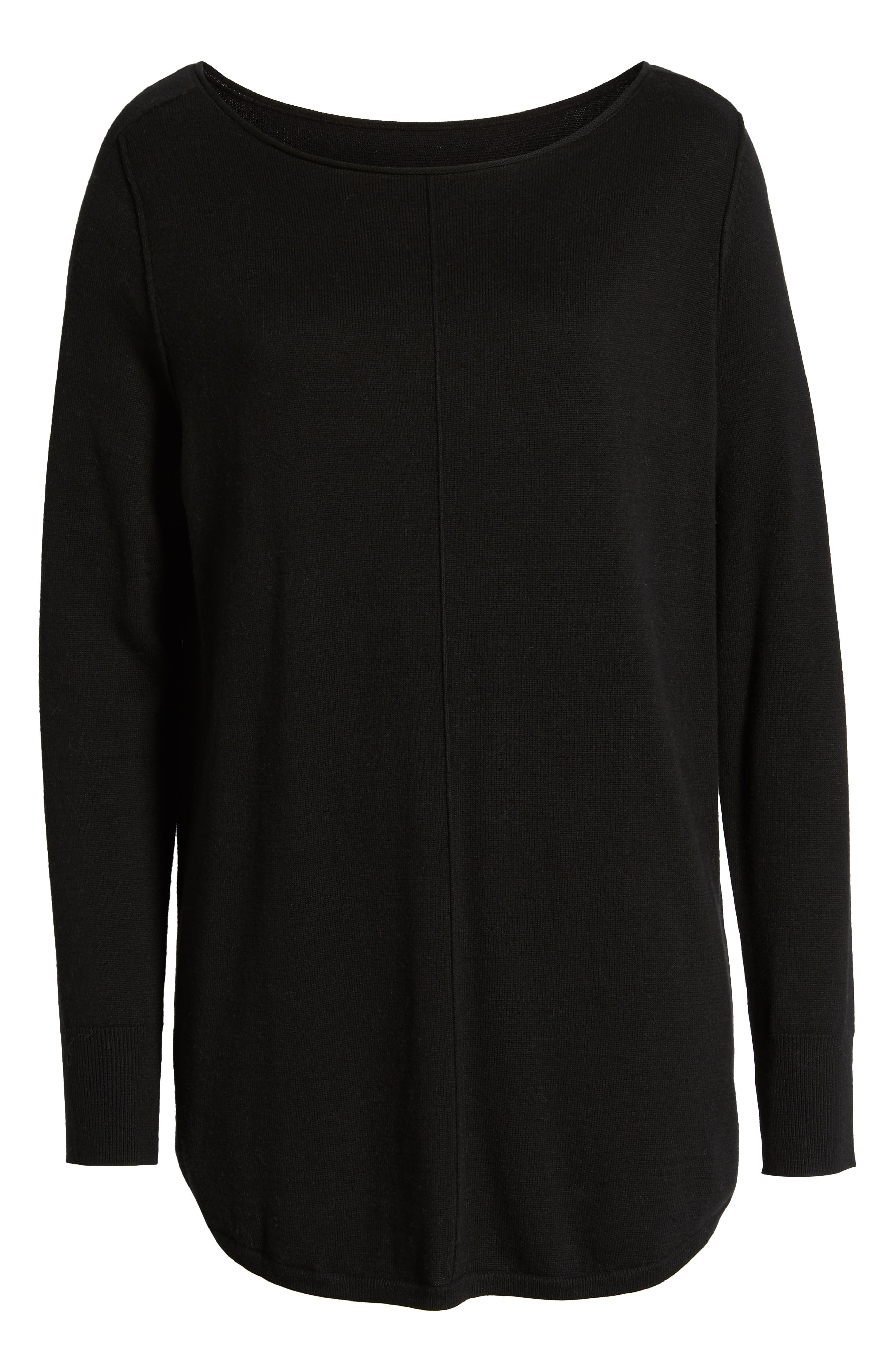 Seam Detail Shirttail Tunic,                             Alternate thumbnail 6, color,                             BLACK