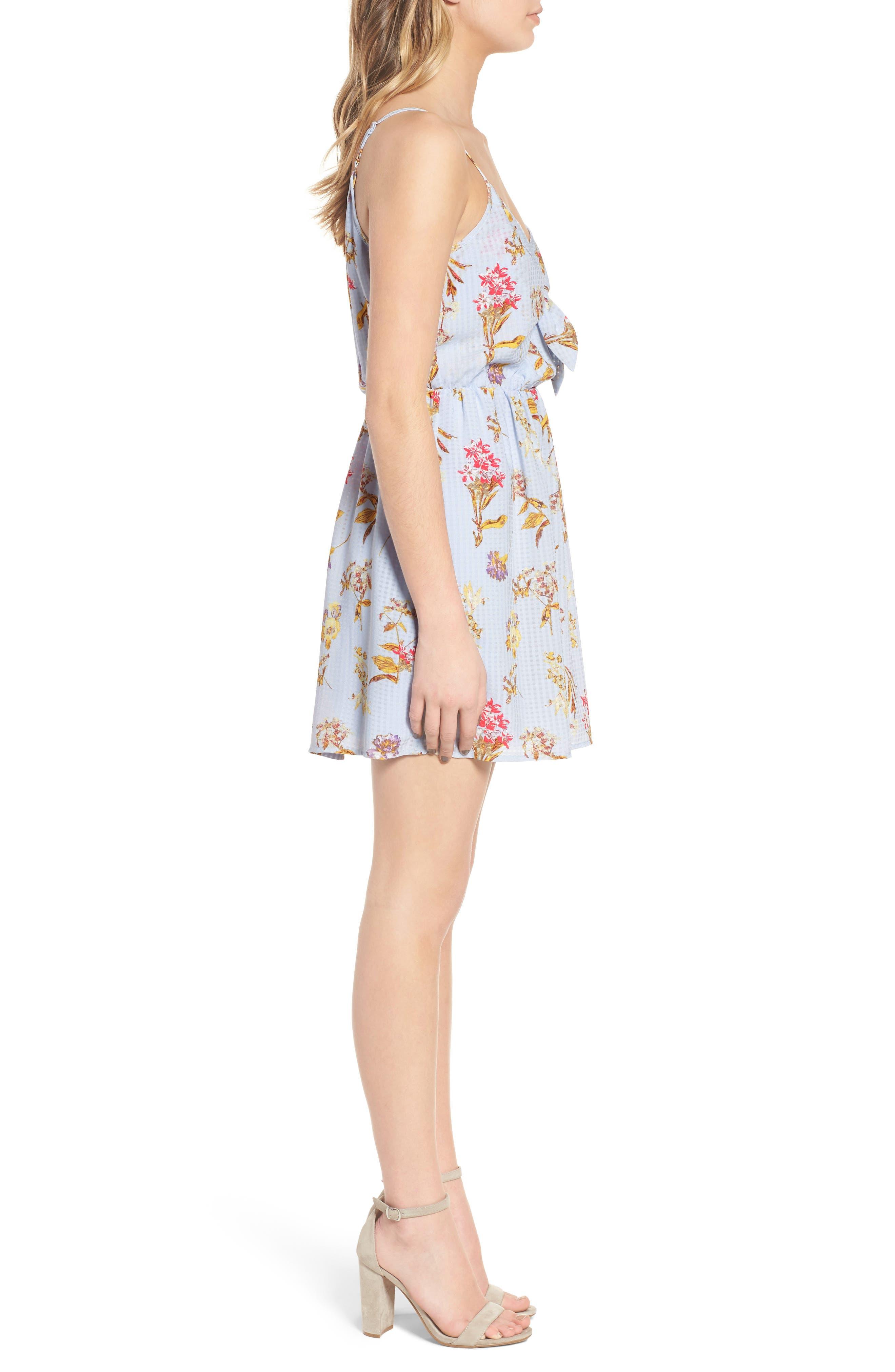 Floral Tie Front Dress,                             Alternate thumbnail 3, color,                             400