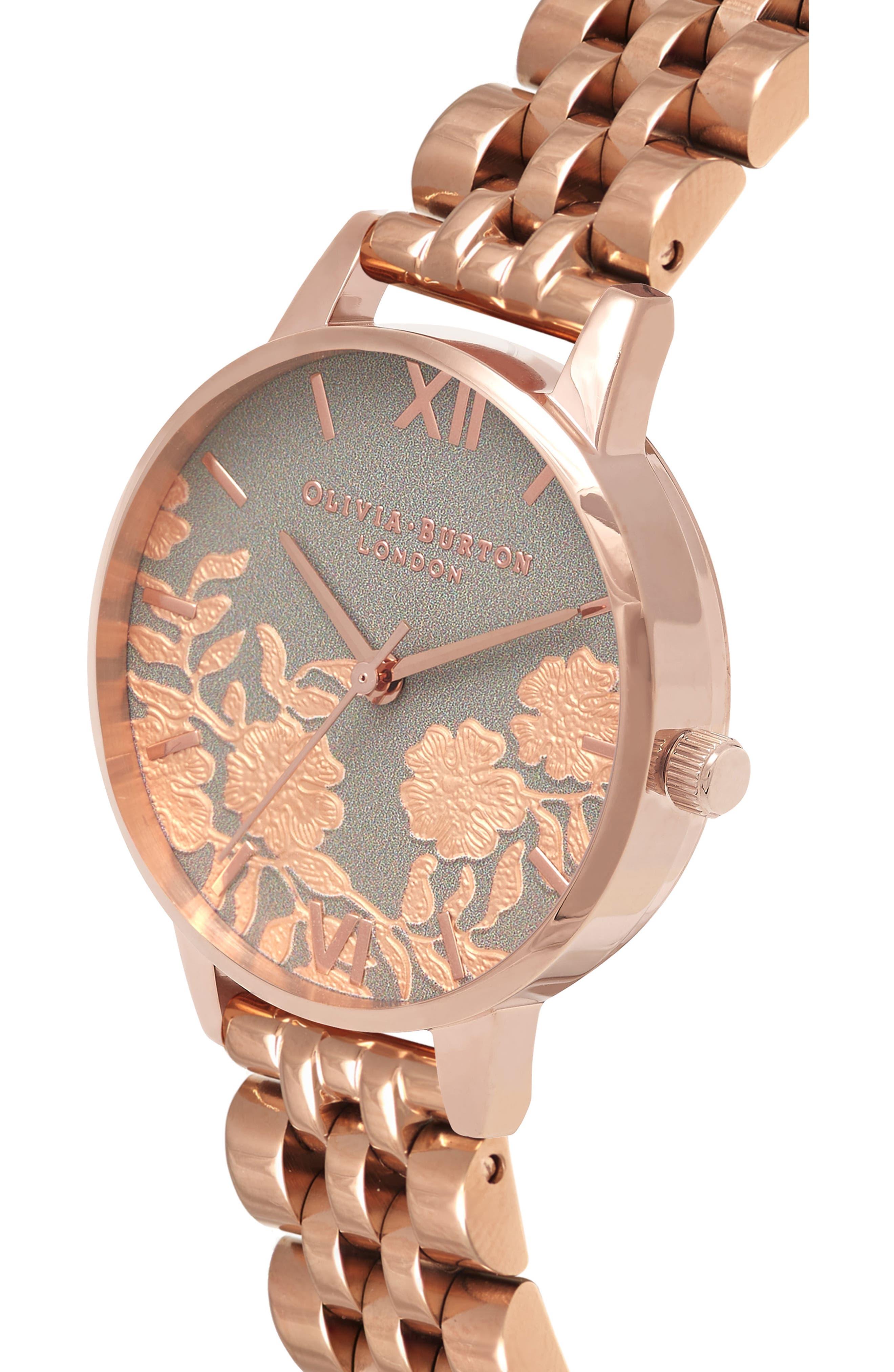 Lace Detail Bracelet Watch, 30mm,                             Alternate thumbnail 3, color,                             ROSE GOLD