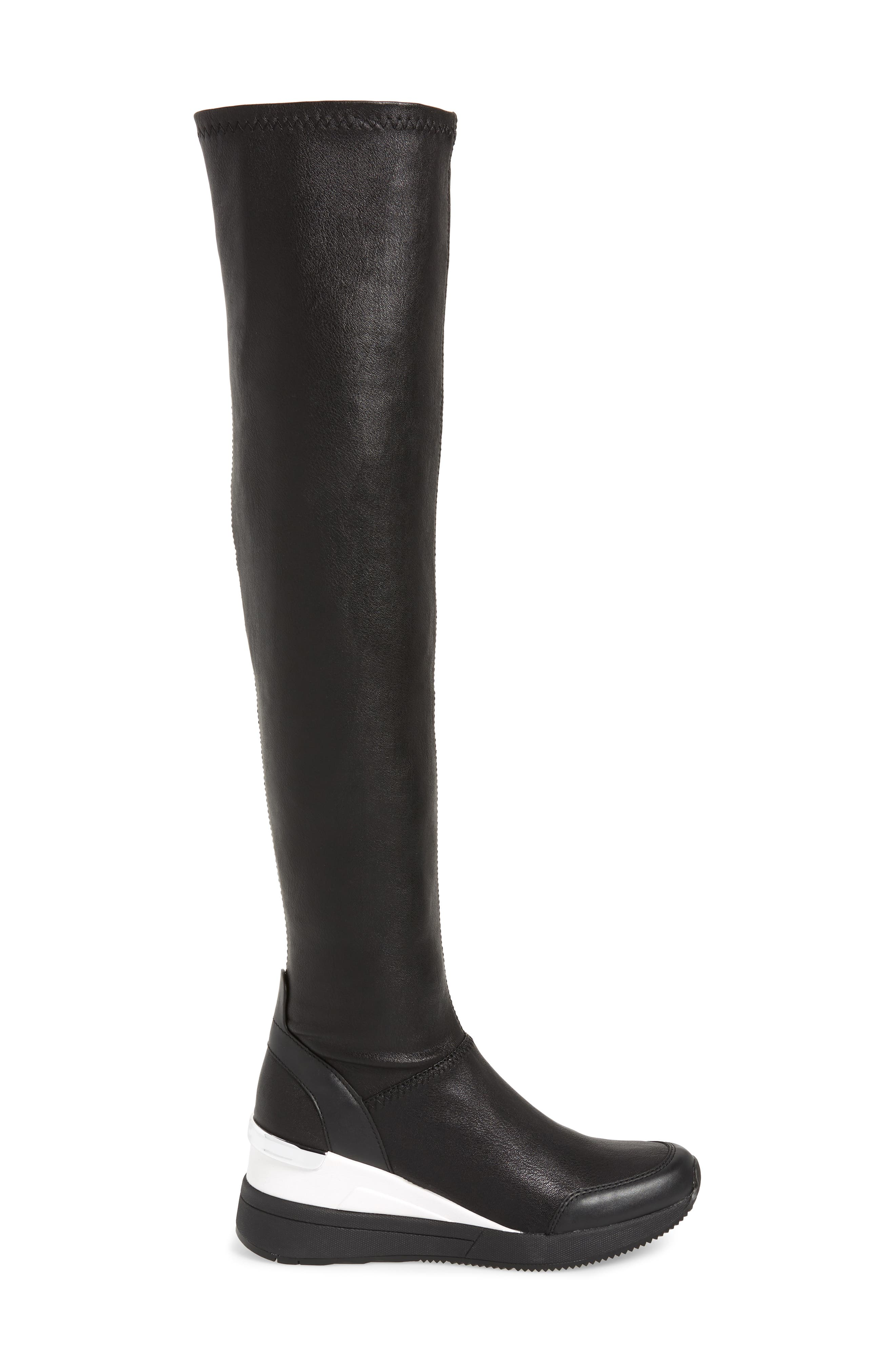 Tipton Wedge Over the Knee Rain Boot,                             Alternate thumbnail 3, color,                             BLACK FAUX LEATHER