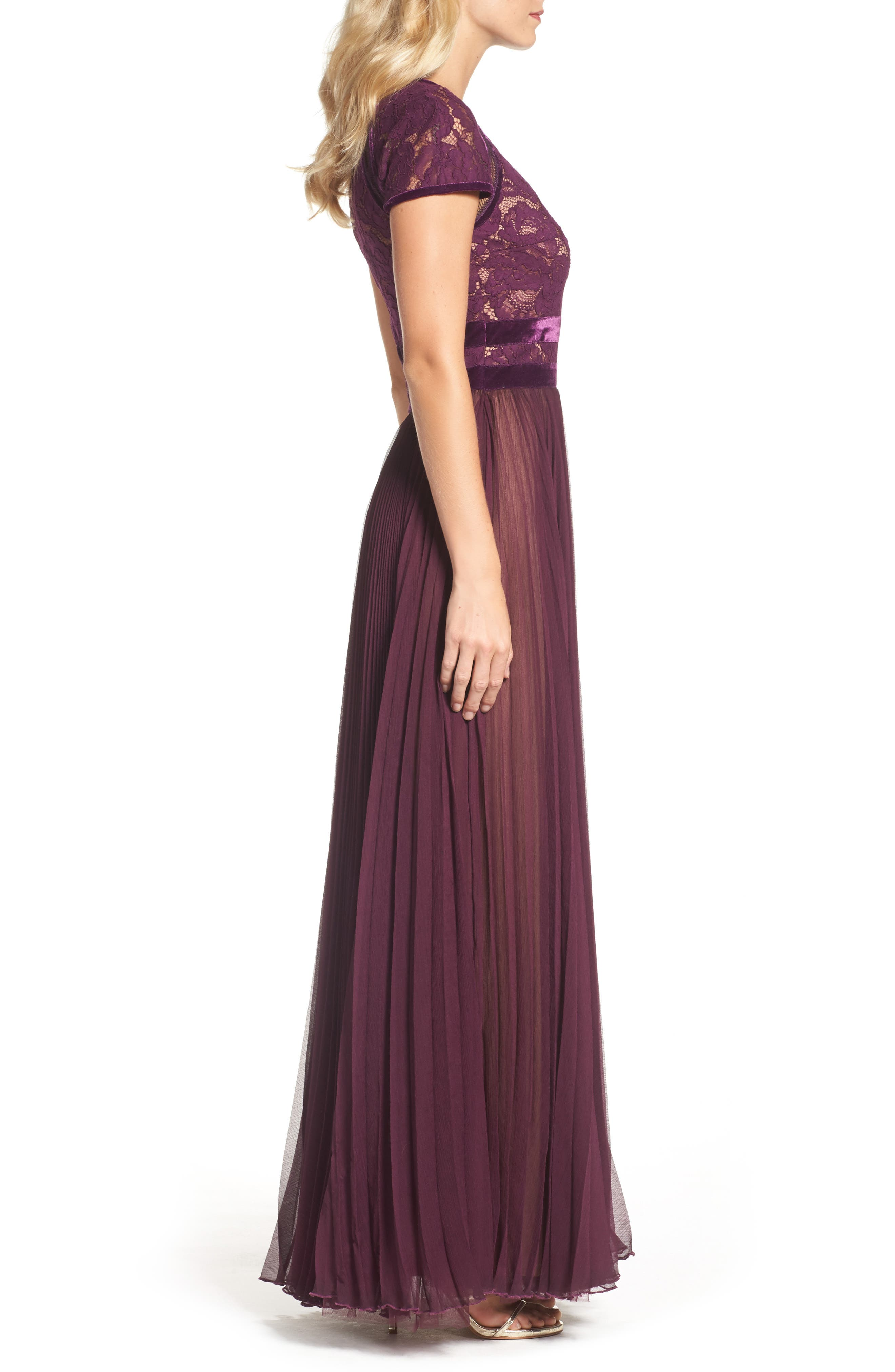 Pleated Lace & Chiffon Gown,                             Alternate thumbnail 3, color,                             572