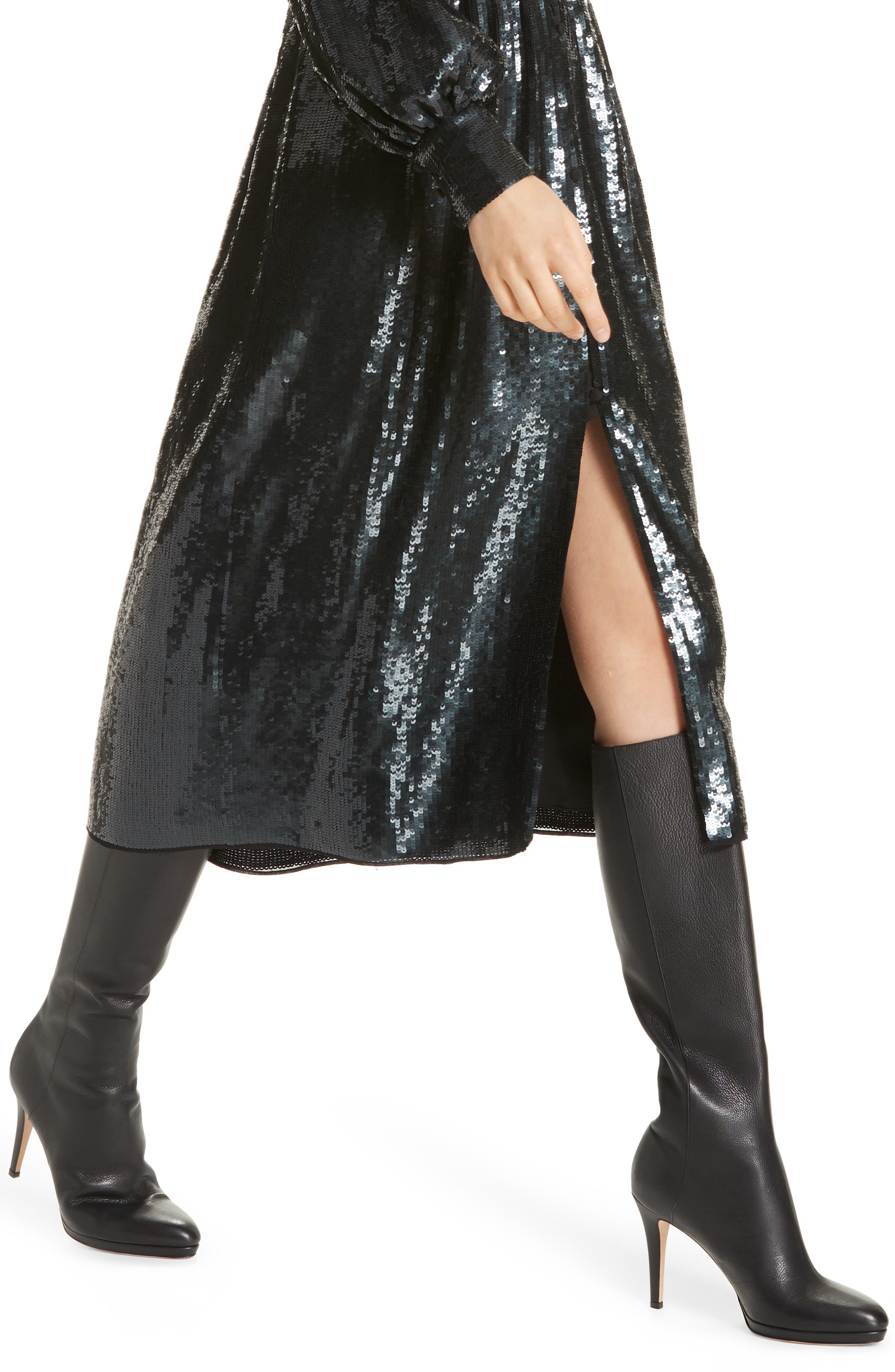Kyria B Sequin Midi Dress,                             Alternate thumbnail 4, color,                             001