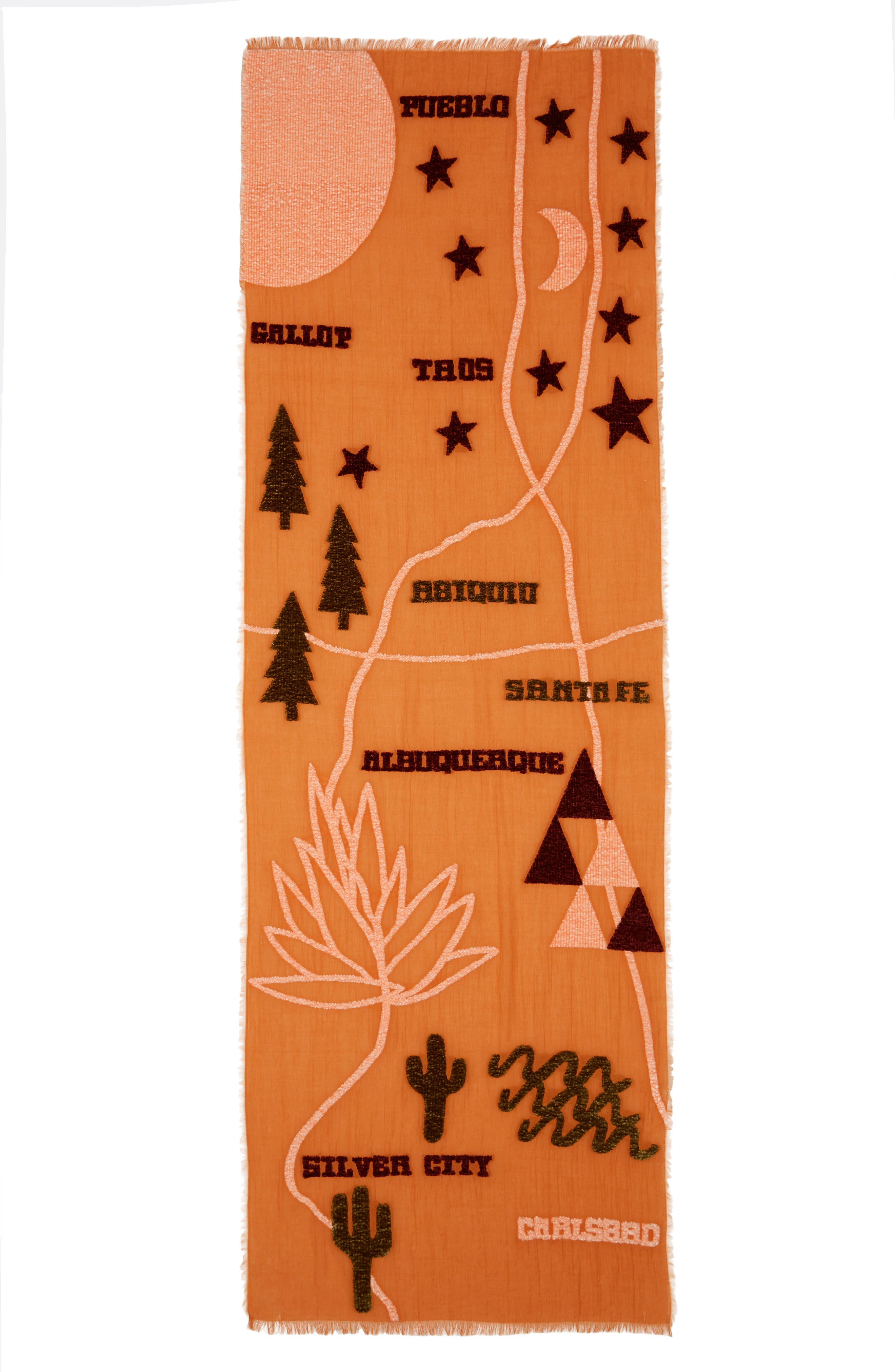 New Mexico Map Chenille Scarf,                             Alternate thumbnail 3, color,                             700