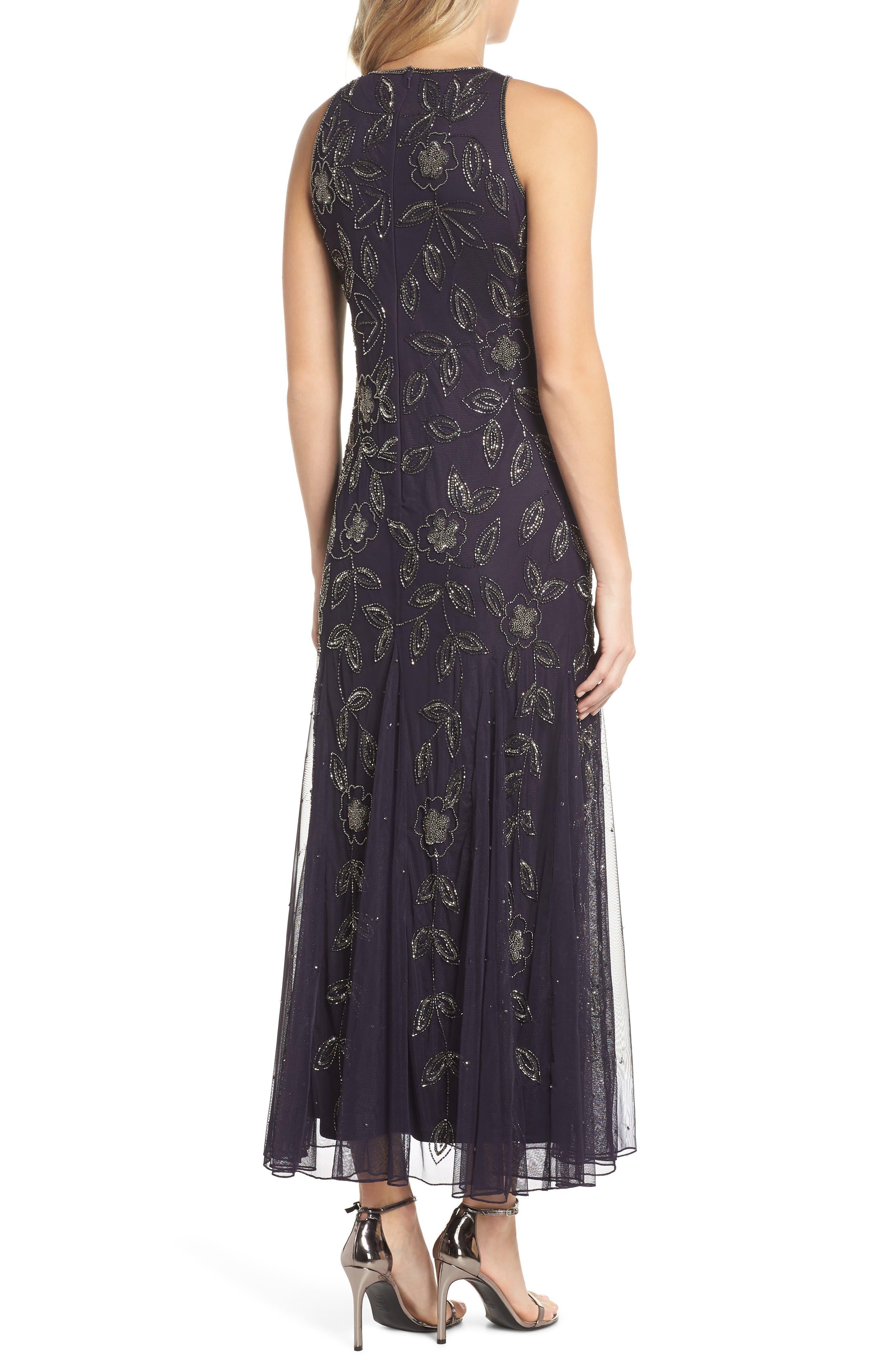 Beaded Godet Gown,                             Alternate thumbnail 2, color,                             EGGPLANT