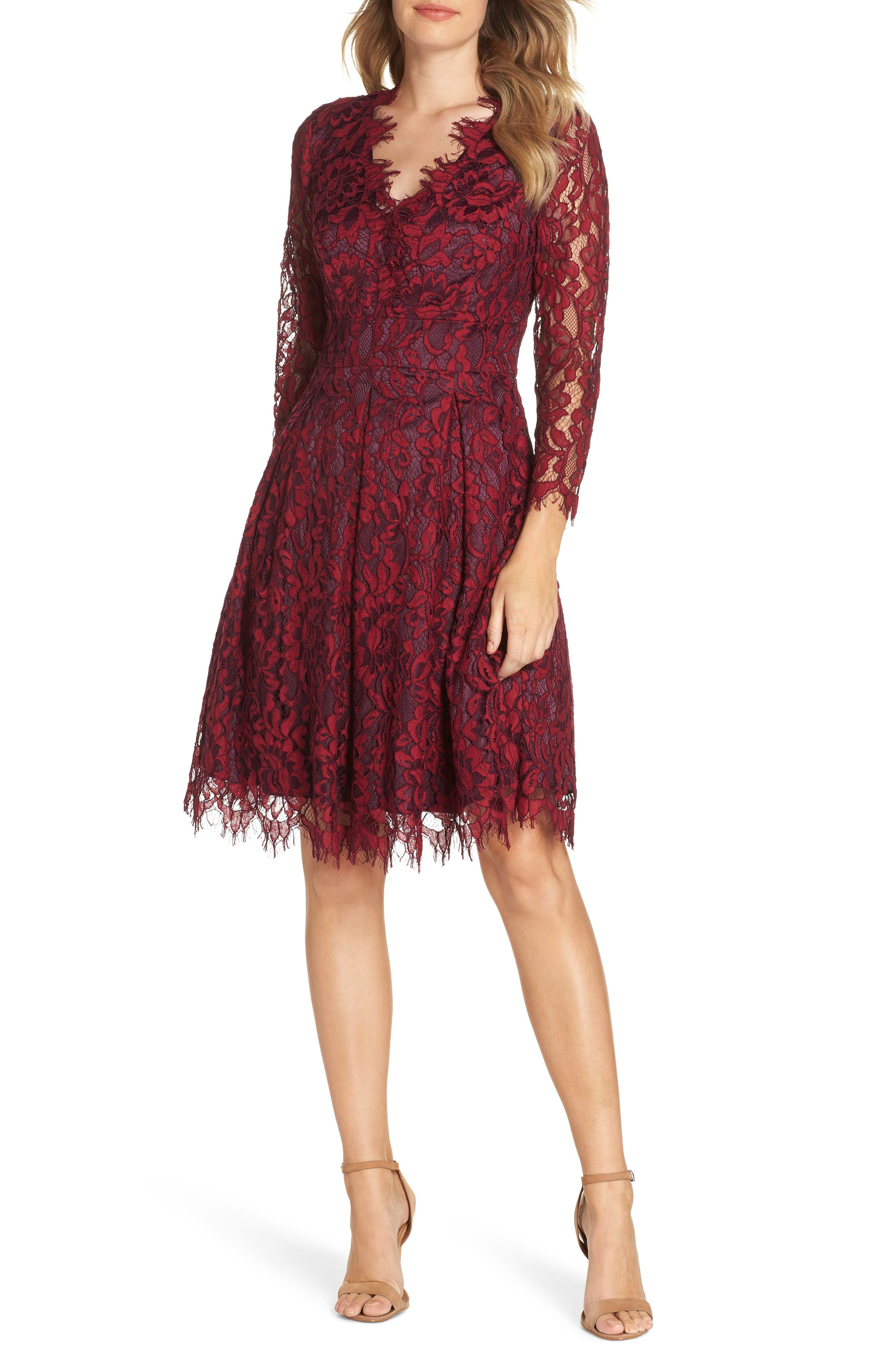 Lace V-Neck Fit & Flare Dress, Main, color, RED
