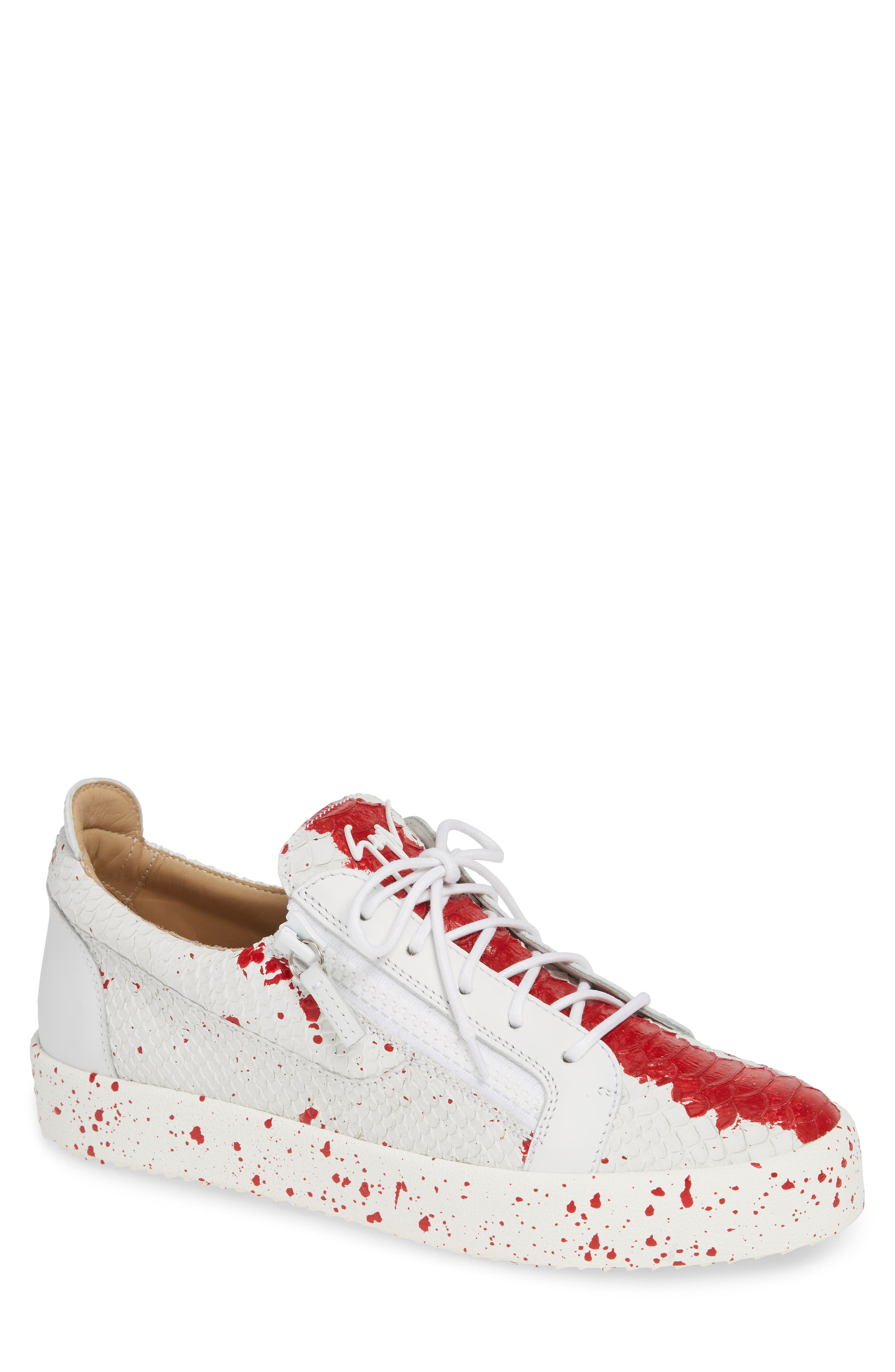 Embossed Low Top Sneaker,                             Main thumbnail 1, color,                             WHITE/ RED
