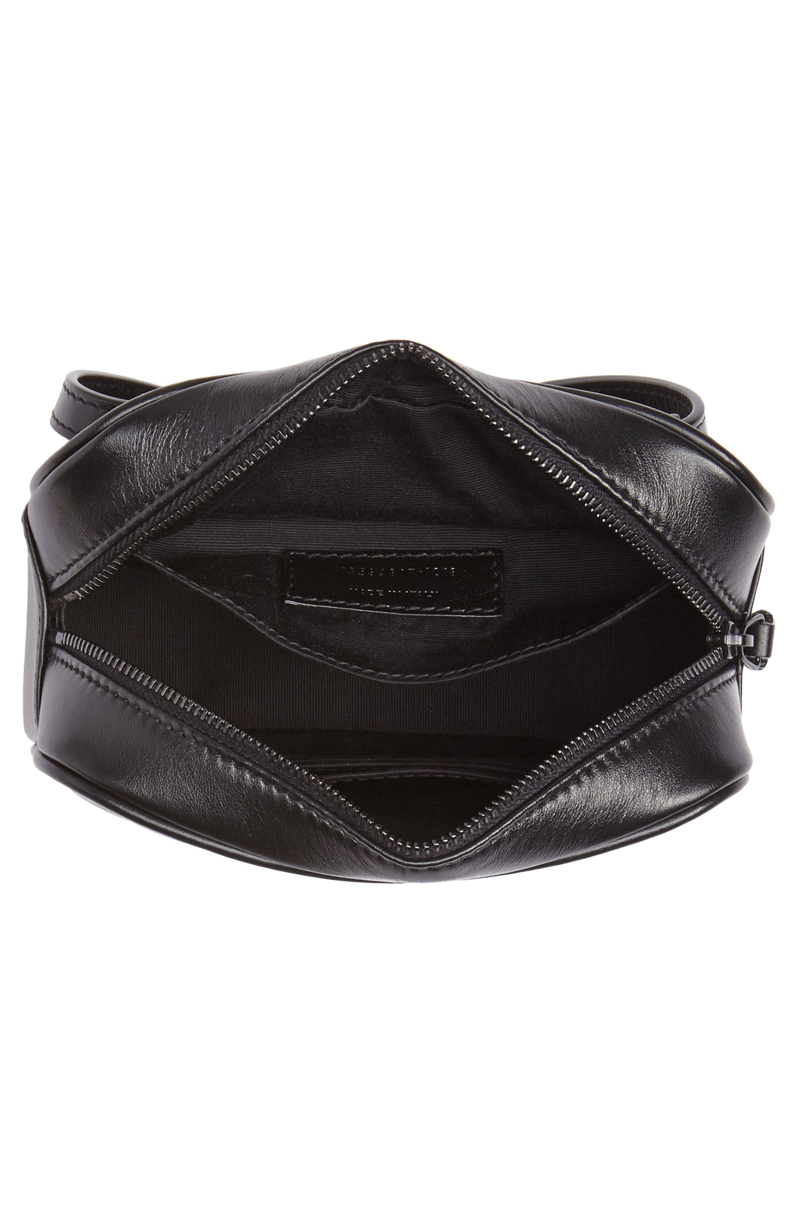 Lou Matelassé Leather Belt Bag,                             Alternate thumbnail 5, color,                             NOIR