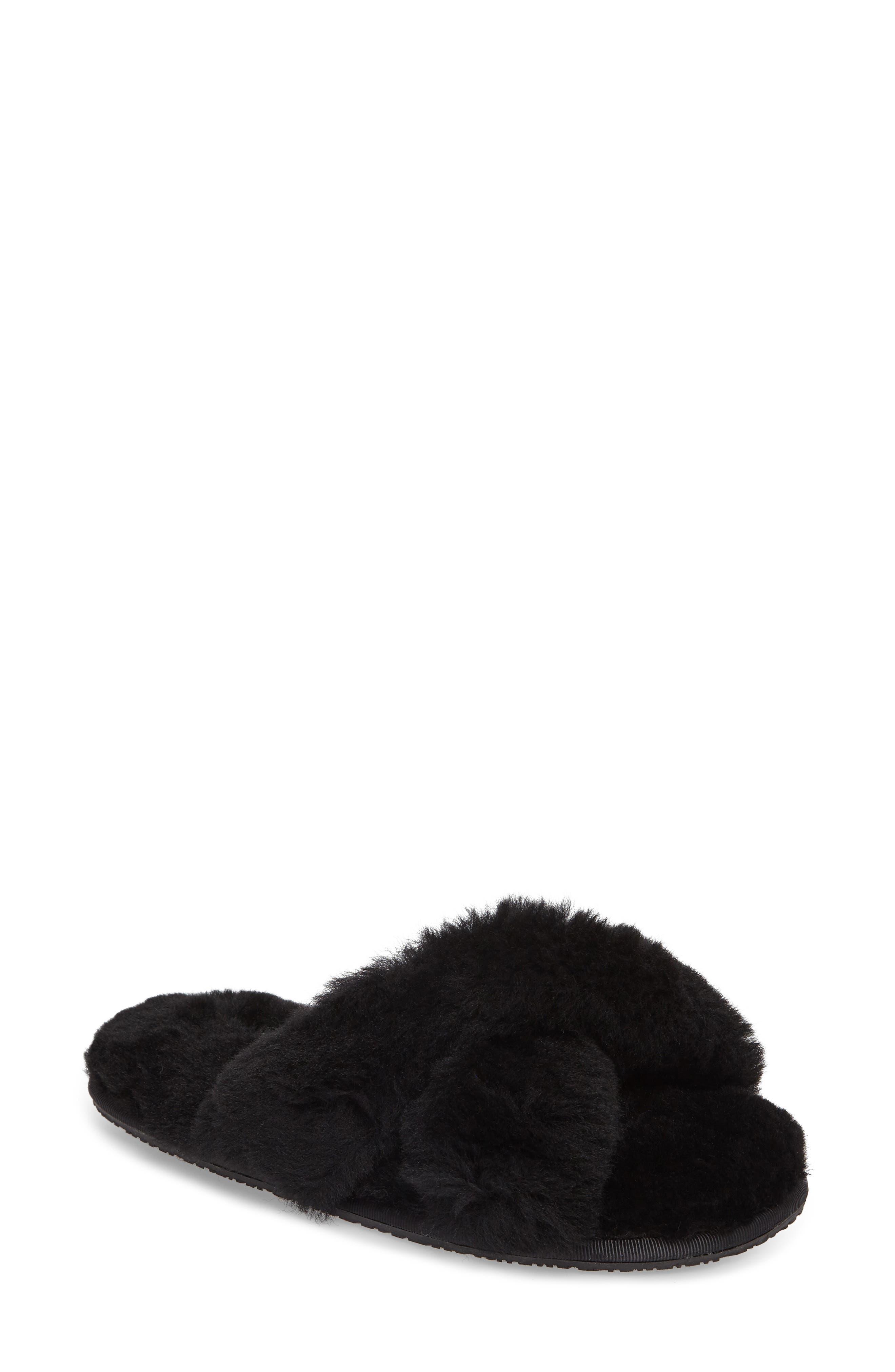 Mt. Hood Genuine Shearling Slipper,                             Main thumbnail 1, color,                             BLACK