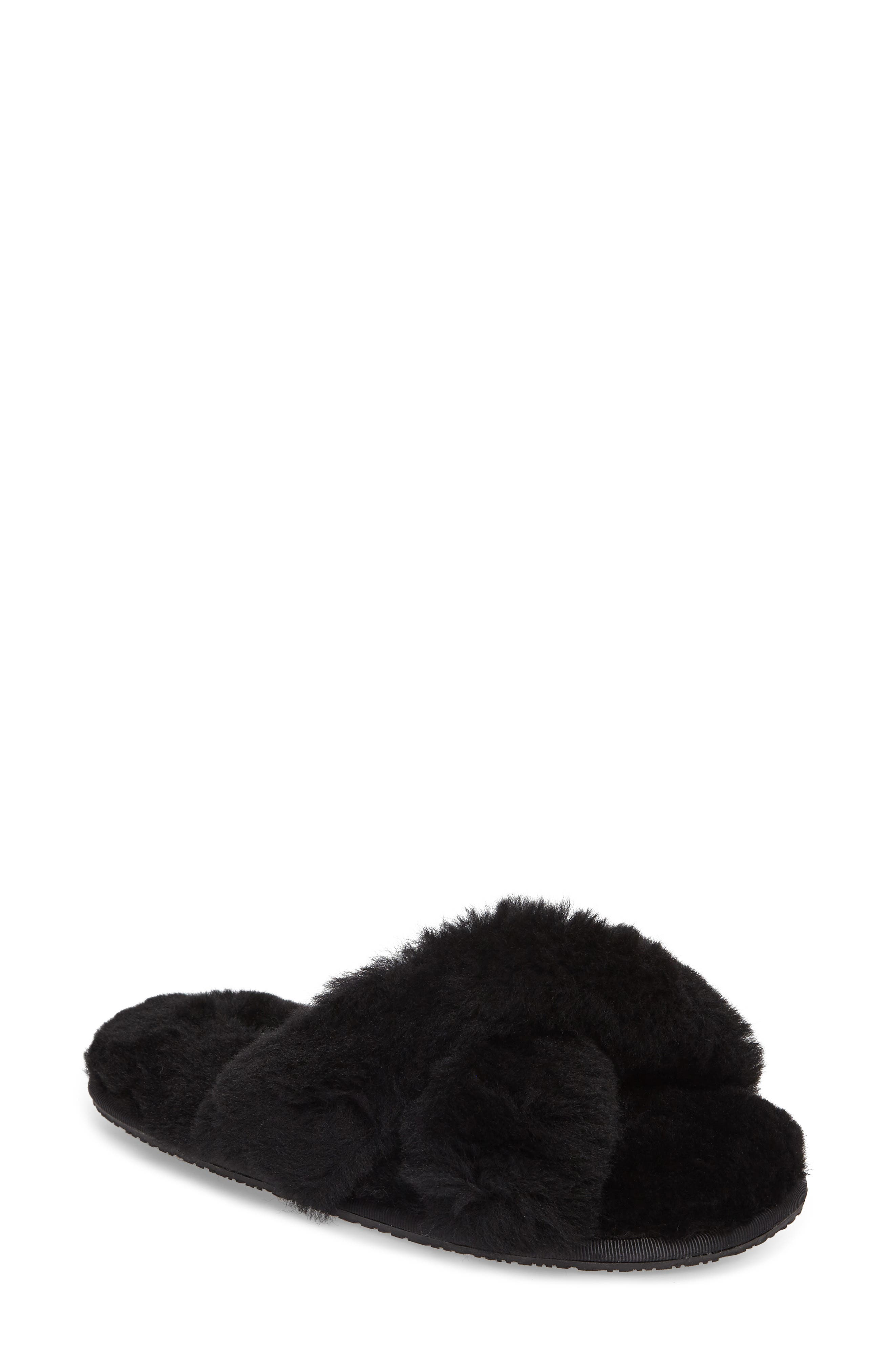 Mt. Hood Genuine Shearling Slipper,                         Main,                         color, BLACK