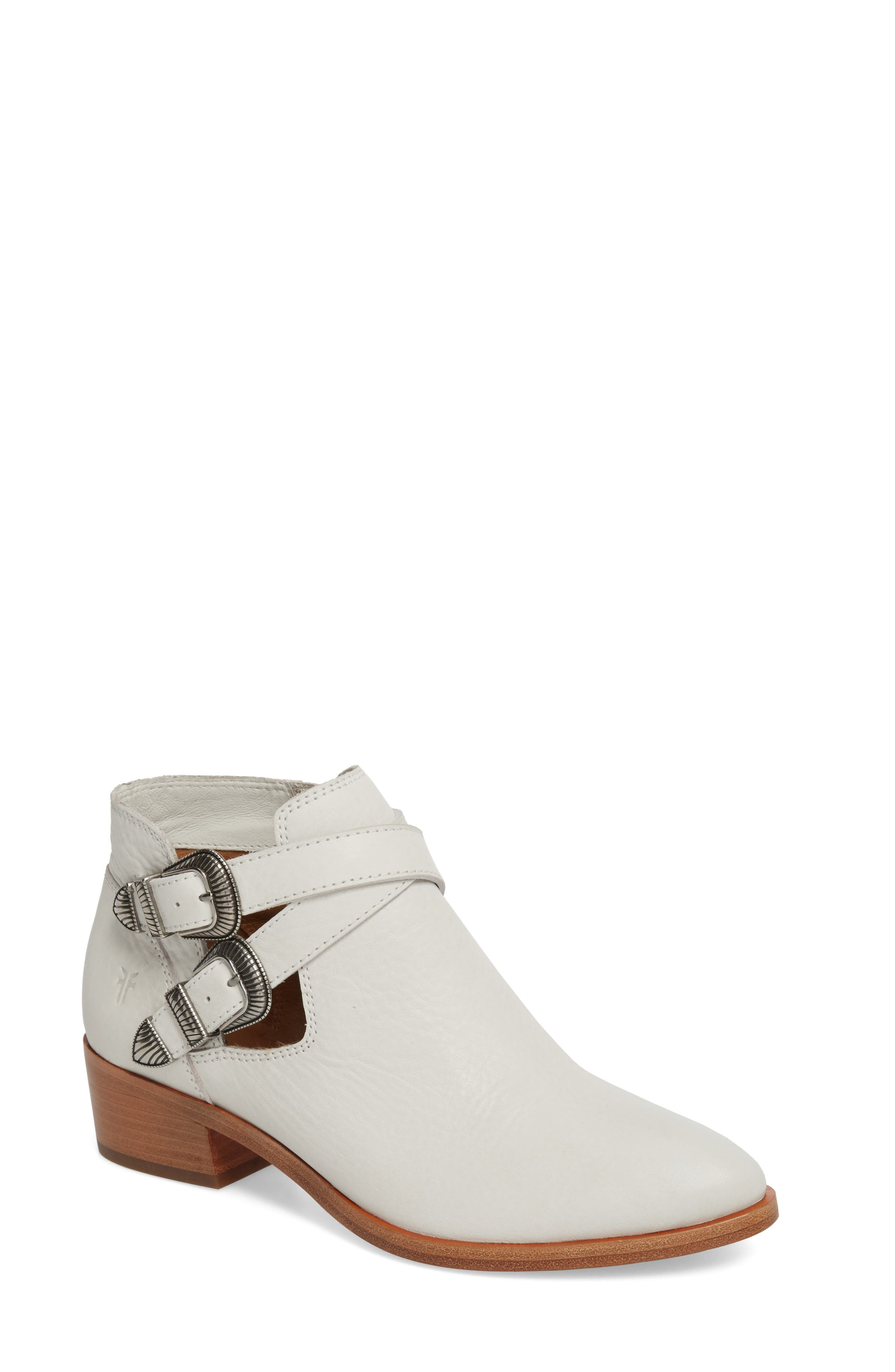 Ray Western Bootie,                         Main,                         color, WHITE/ WHITE LEATHER