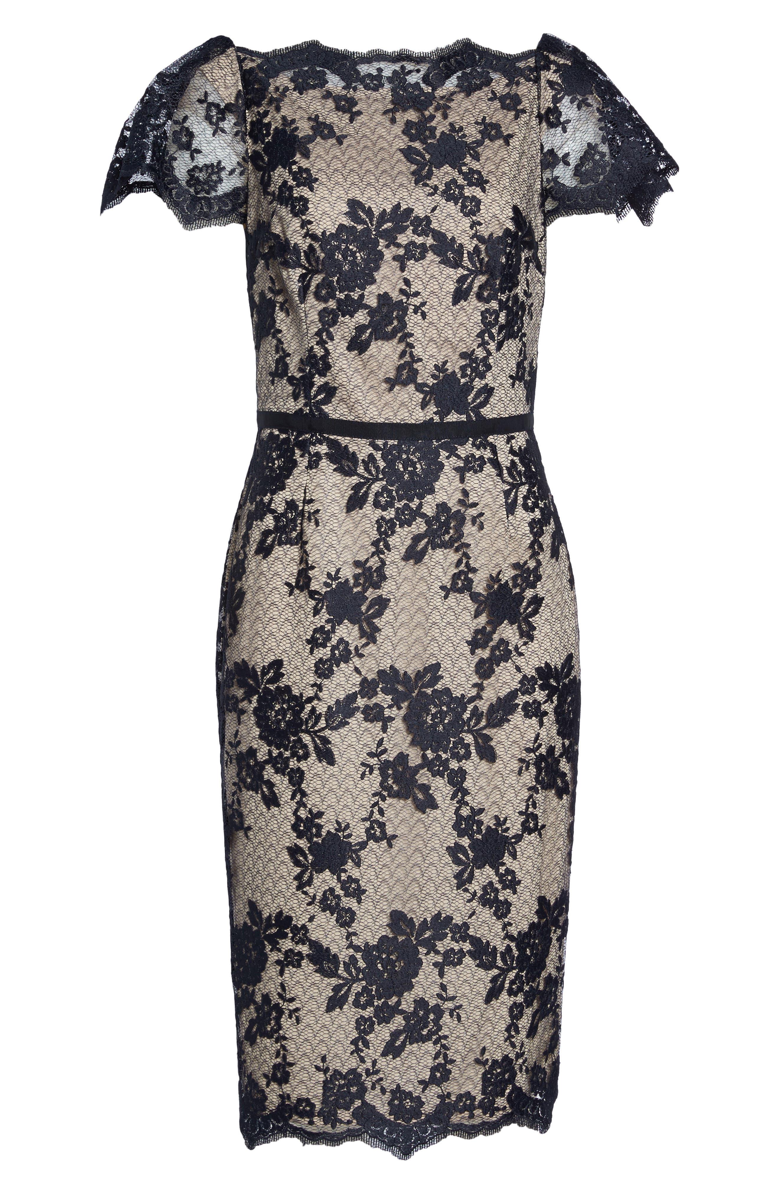 Lace Sheath Dress,                             Alternate thumbnail 6, color,                             402