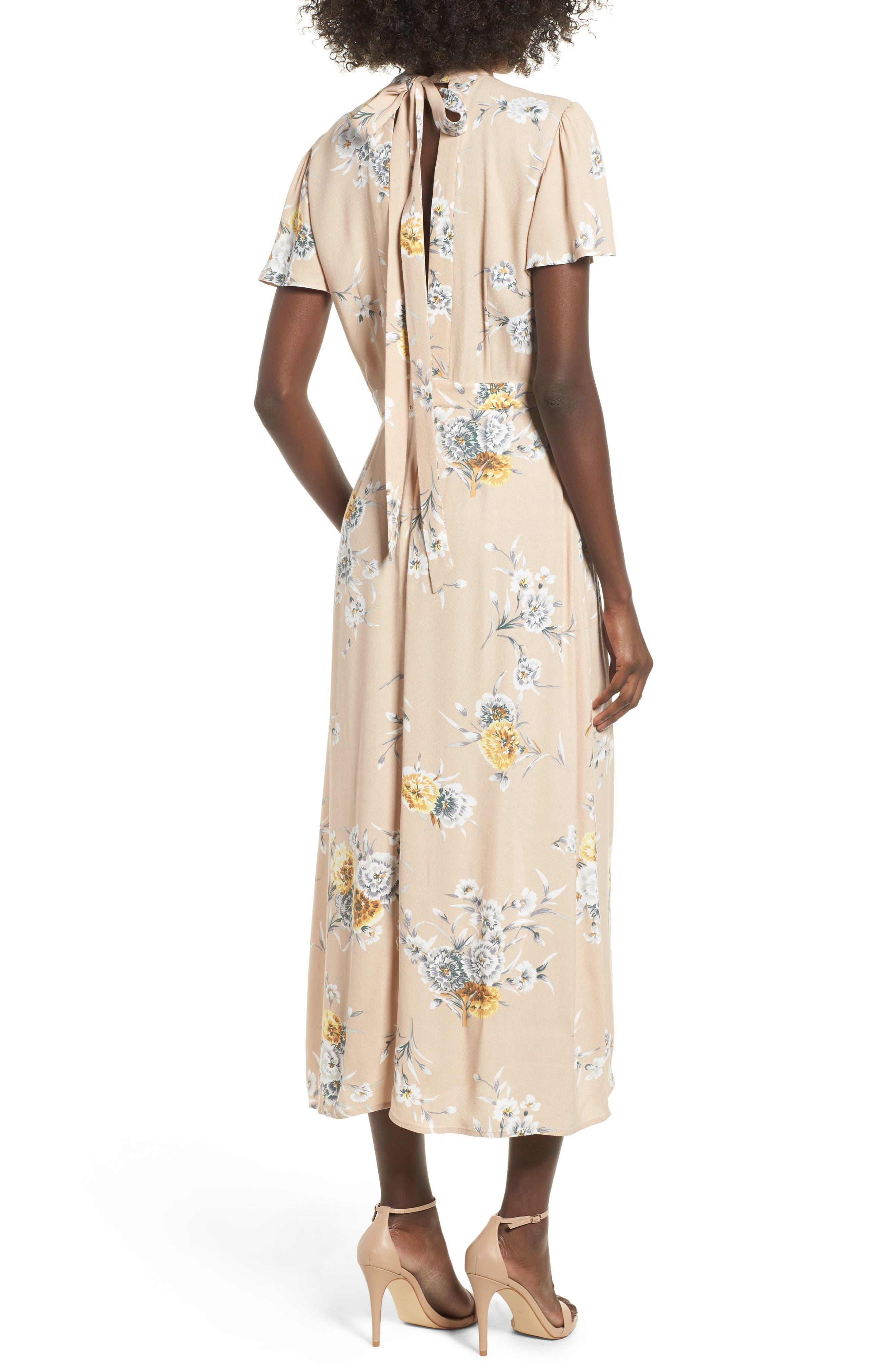 Aliana Tie Detail Dress,                             Alternate thumbnail 2, color,                             BEIGE BOUQUET