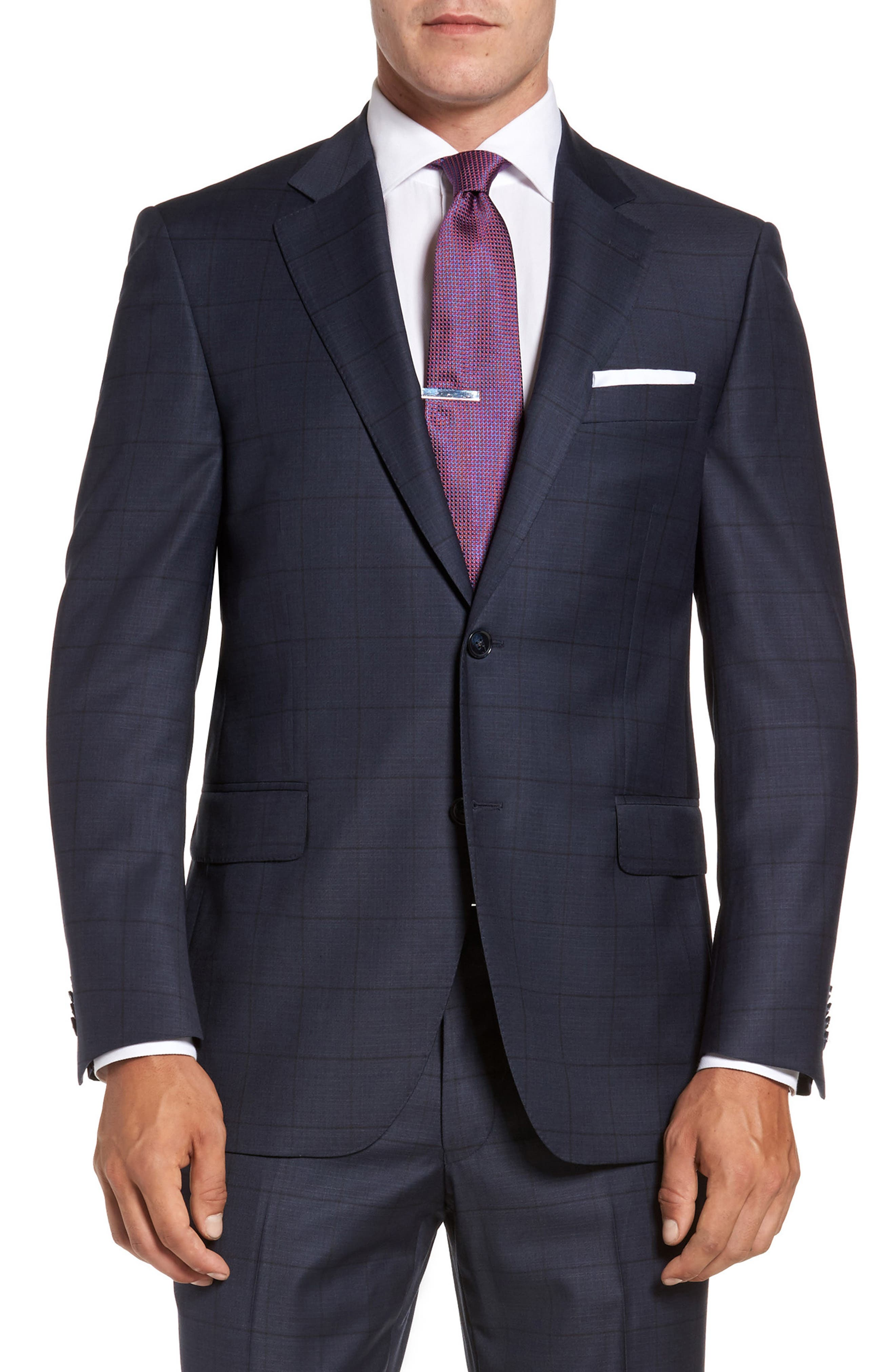 Flynn Classic Fit Windowpane Wool Suit,                             Alternate thumbnail 6, color,                             410