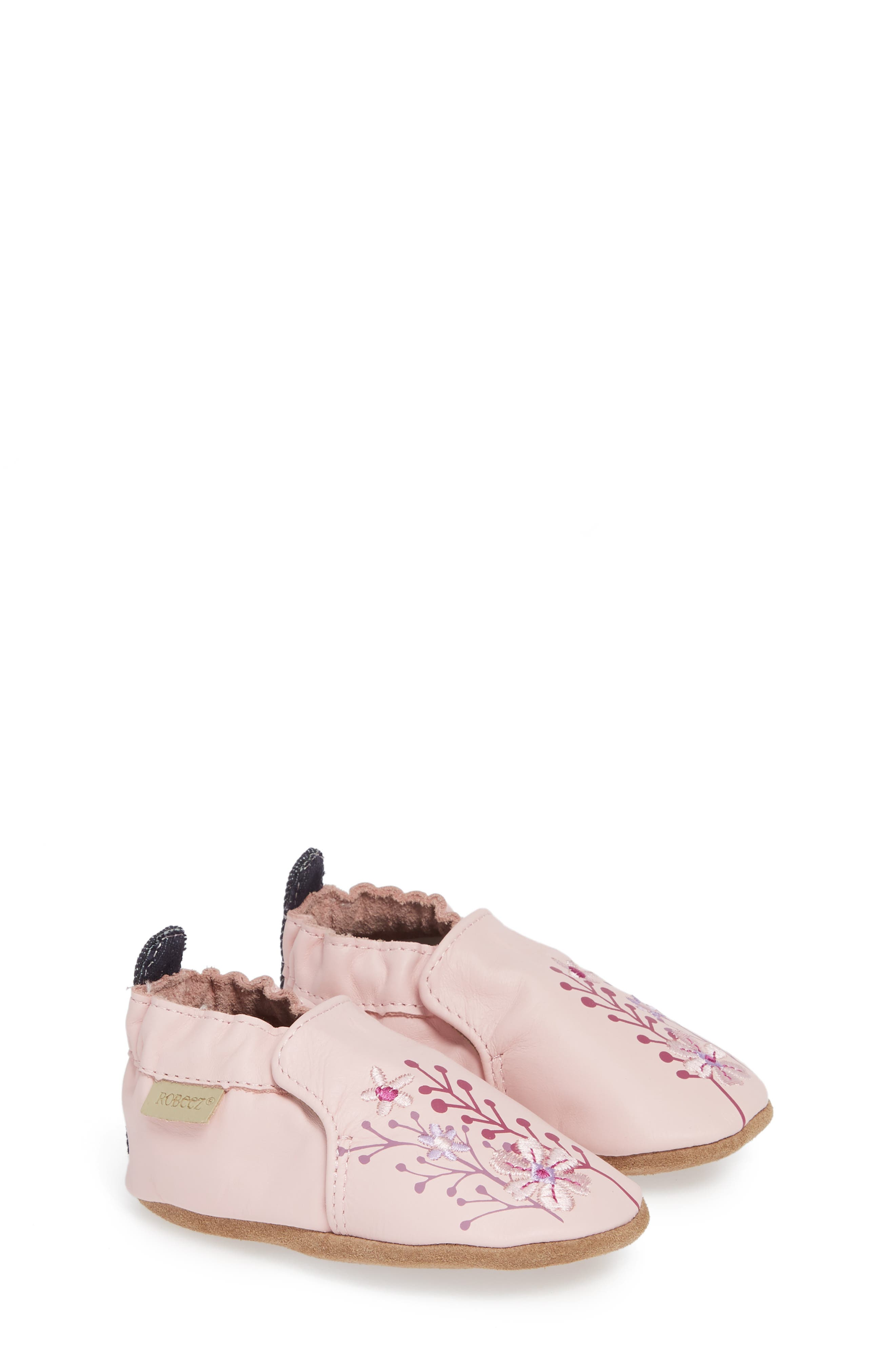 Blooming Floral Crib Shoe, Main, color, LIGHT PINK