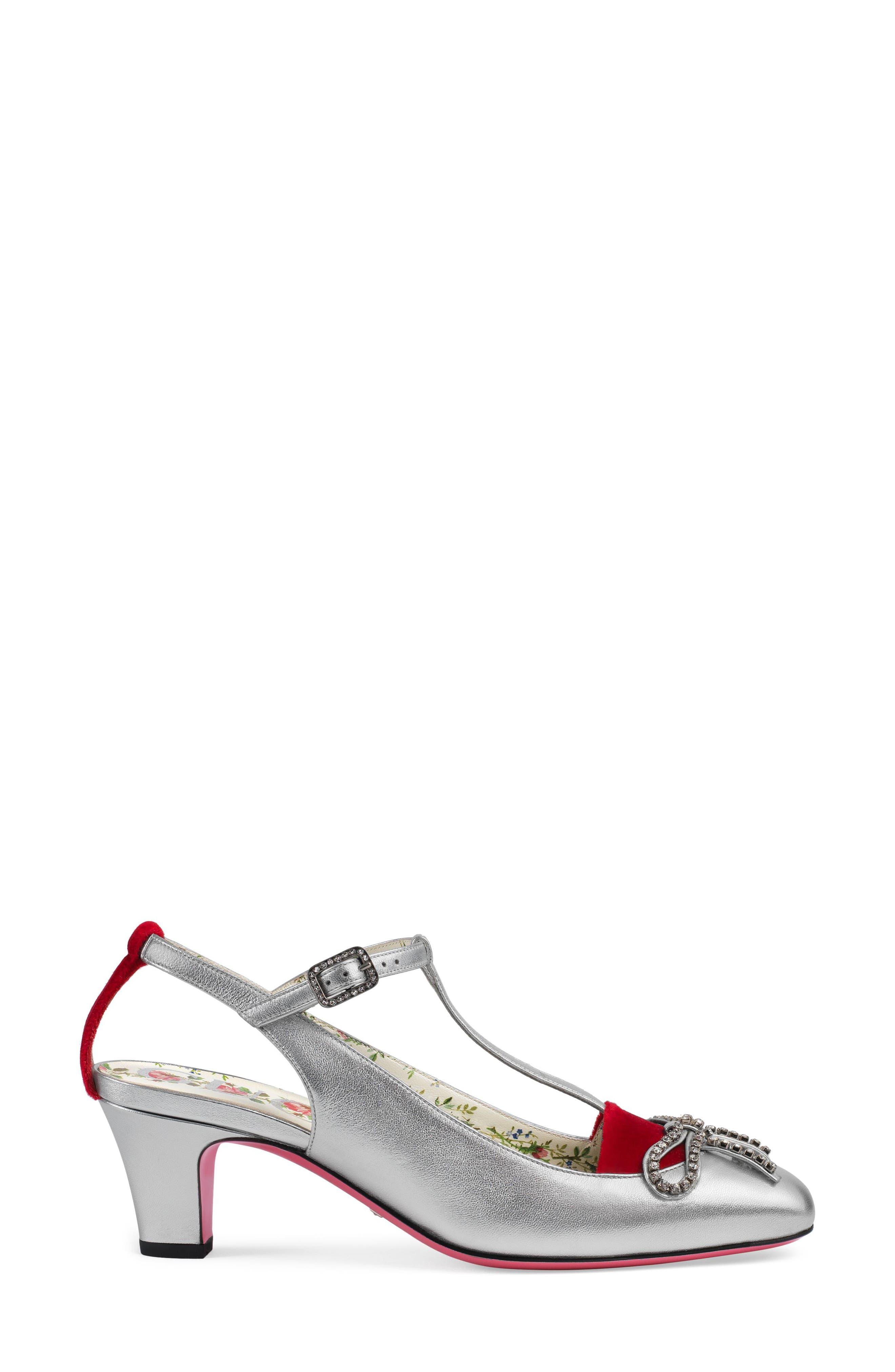 Anita Crystal Bow T-Strap Pump,                             Alternate thumbnail 3, color,                             048