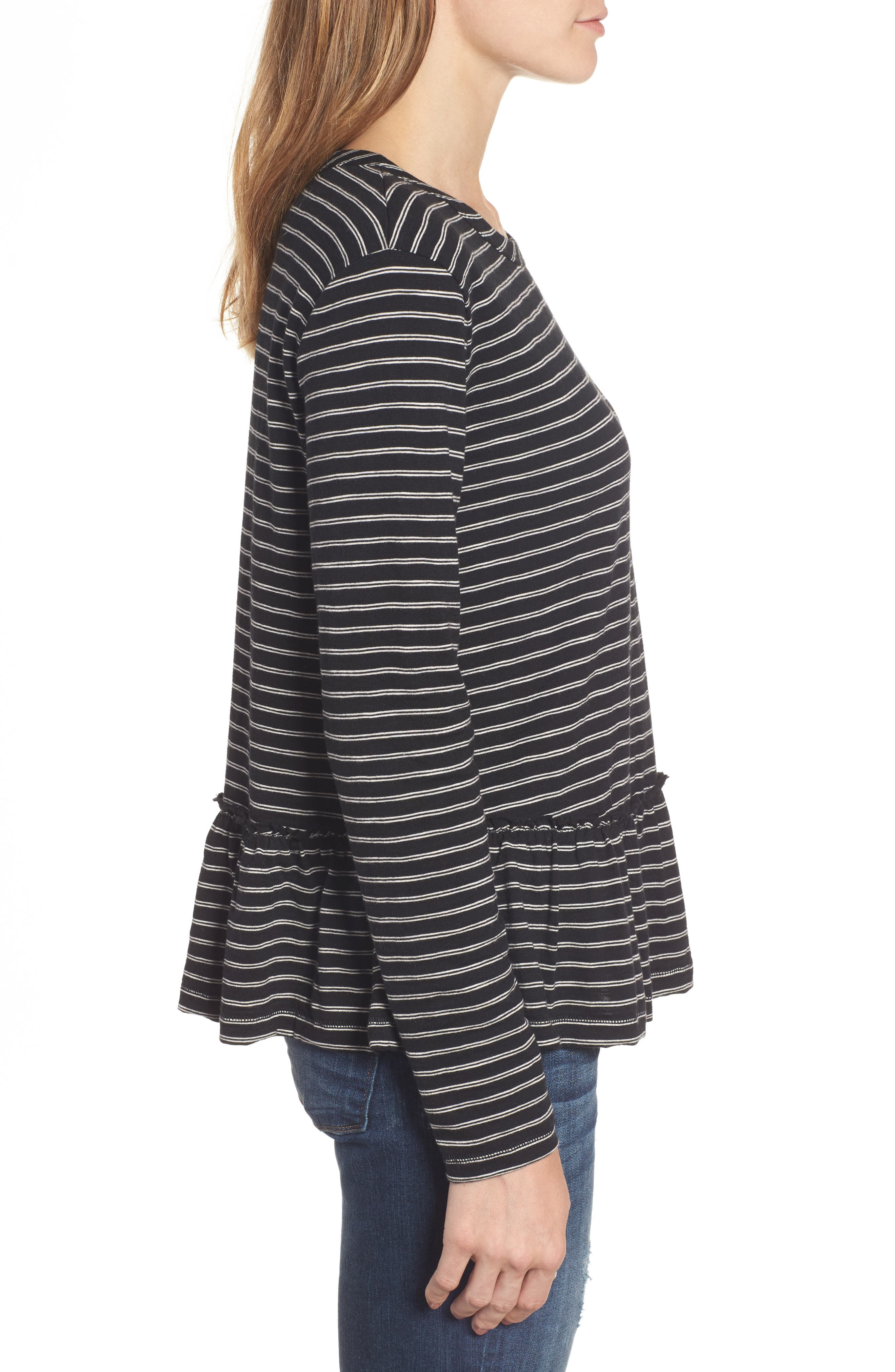 CASLON<SUP>®</SUP>, Peplum Tee, Alternate thumbnail 3, color, BLACK- BEIGE STRIPE