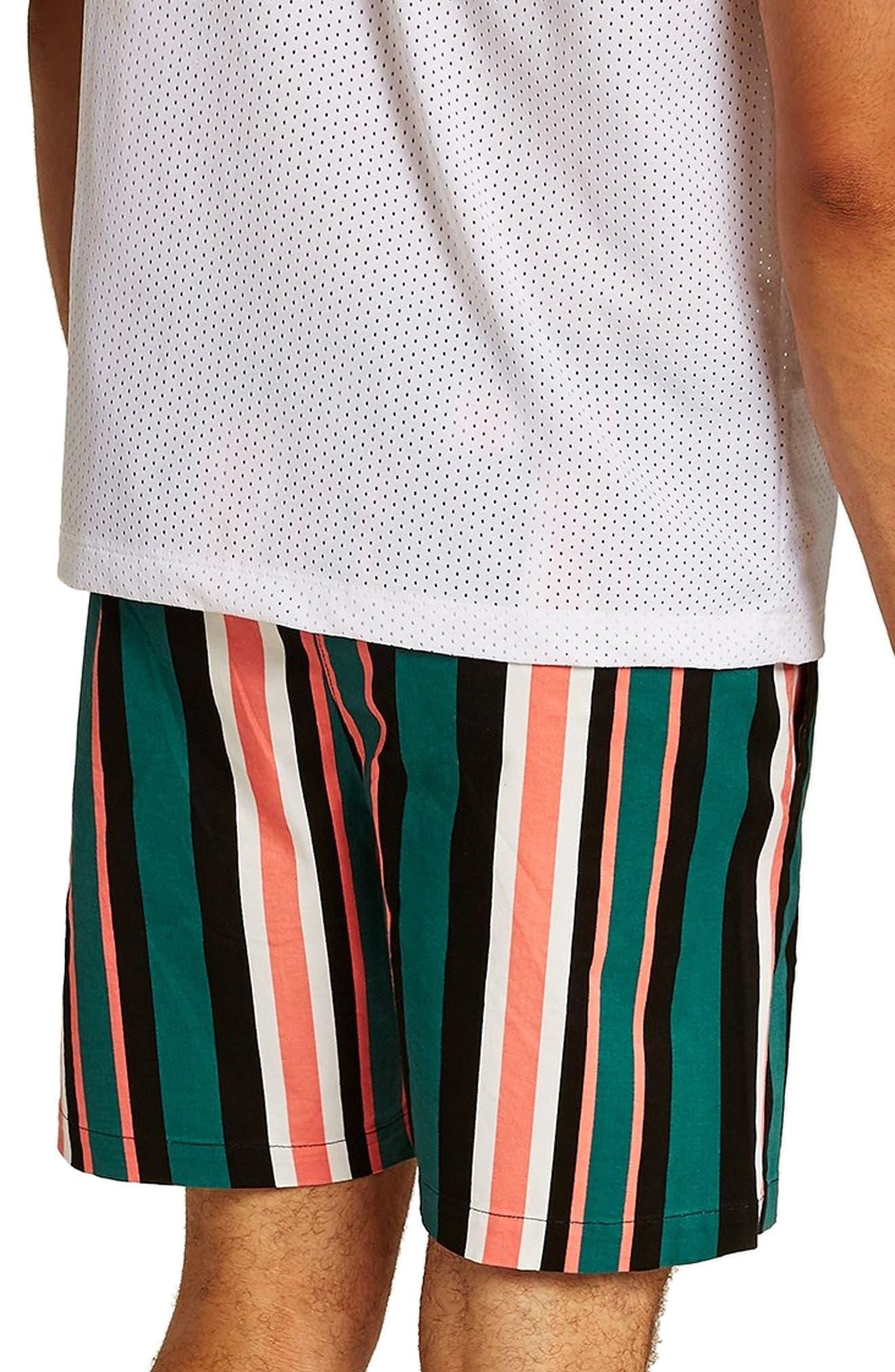 Slim Stripe Shorts,                             Alternate thumbnail 2, color,                             GREEN MULTI