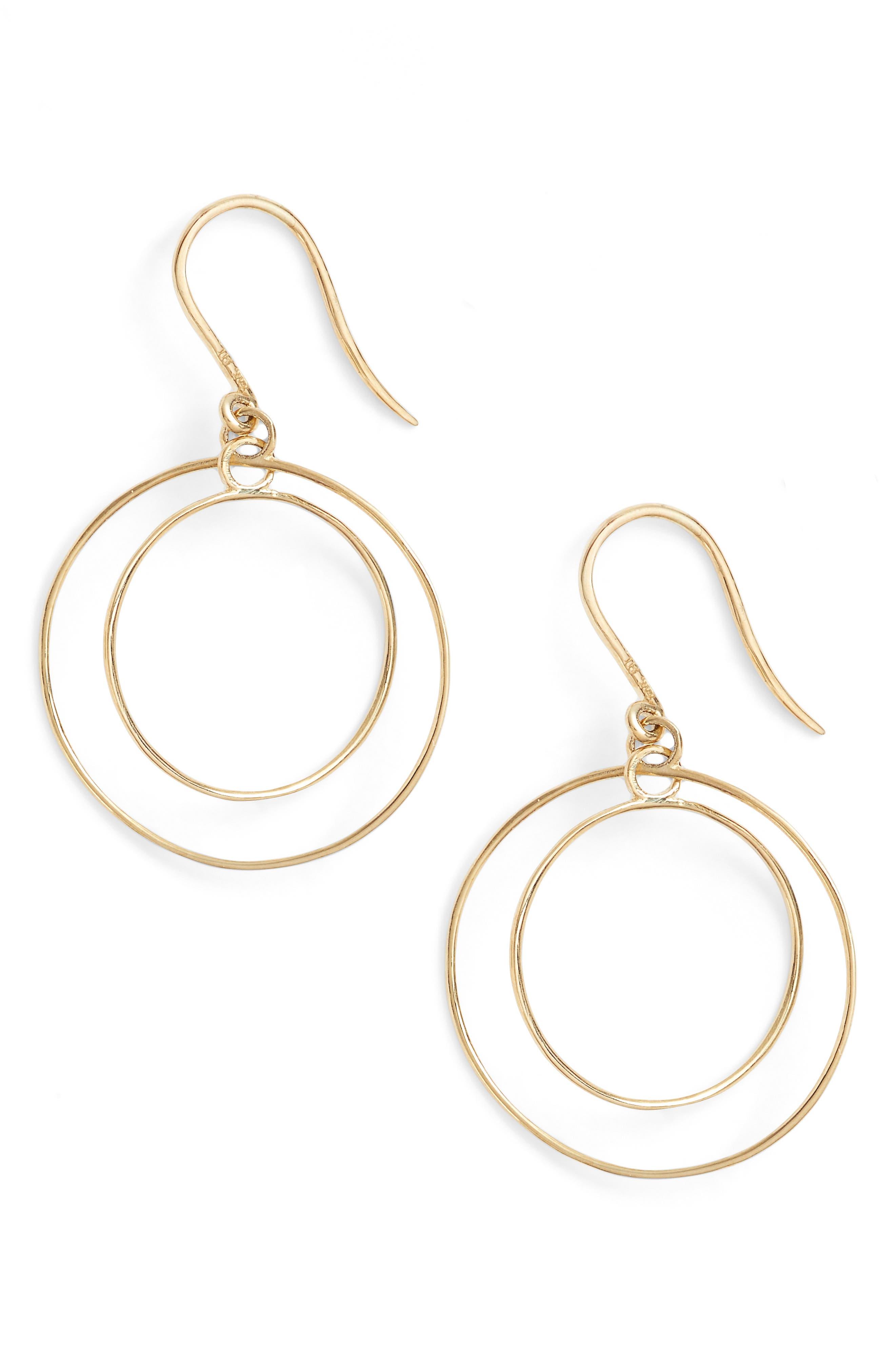 Double Circle Orbital Drop Earrings,                         Main,                         color, YELLOW GOLD