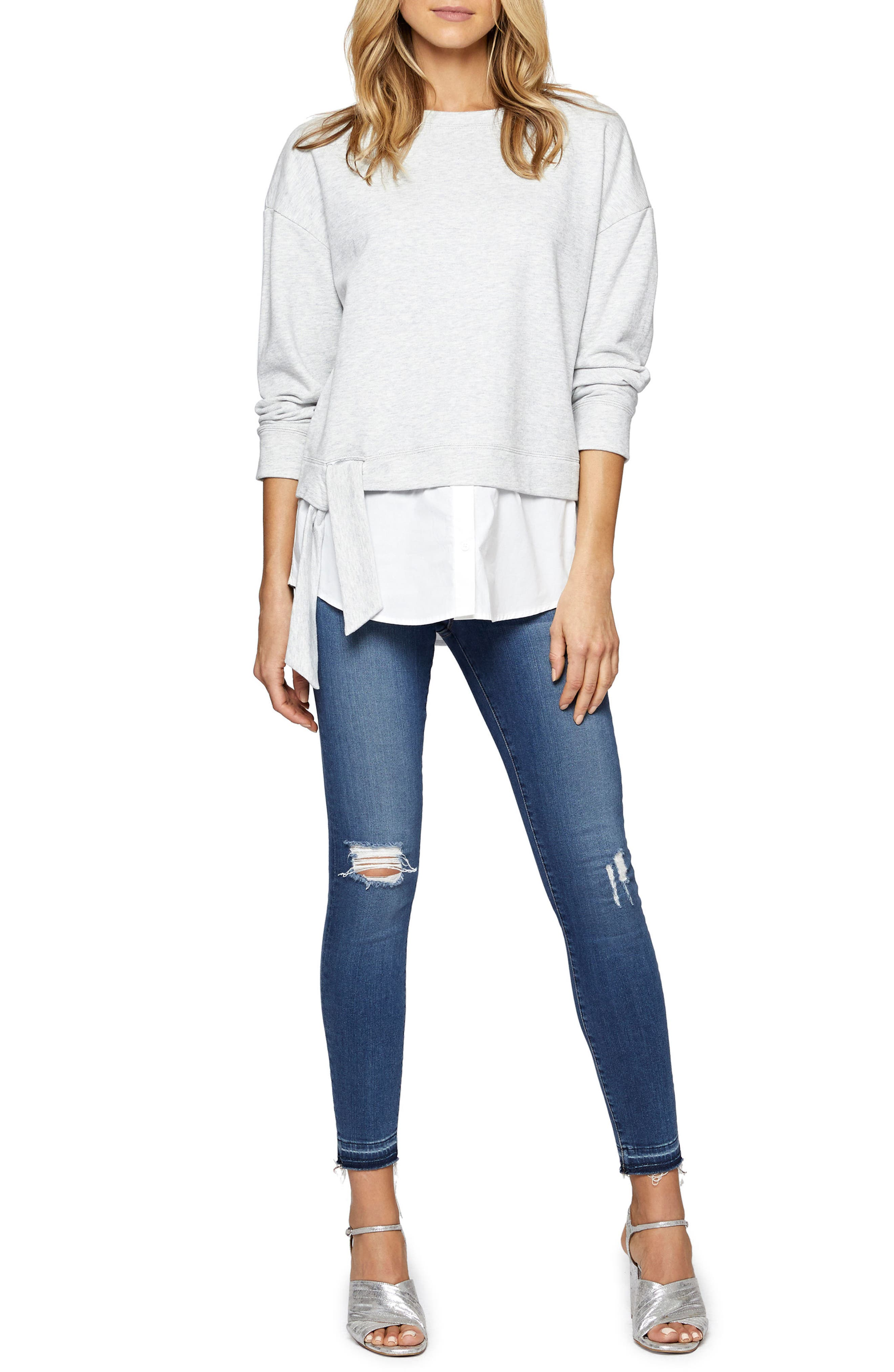 Ally Layered Look Sweatshirt,                             Alternate thumbnail 3, color,                             064