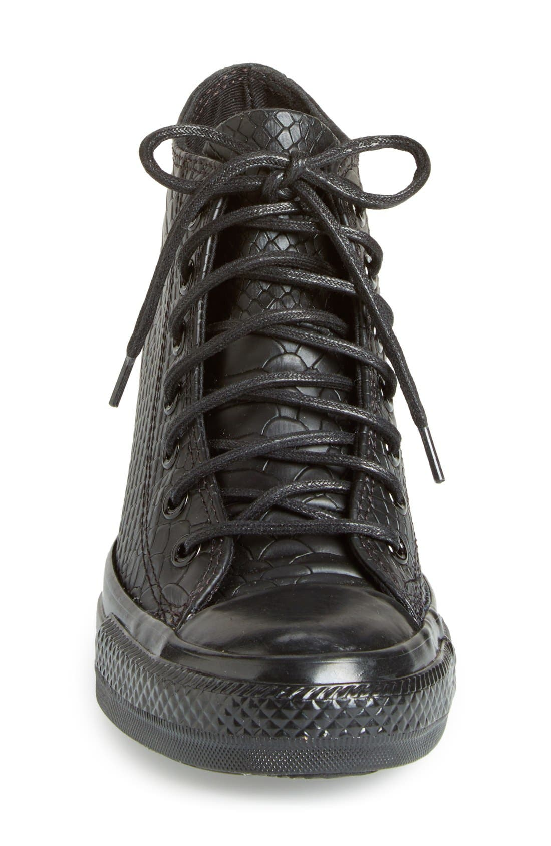 Chuck Taylor<sup>®</sup> All Star<sup>®</sup> 'Embossed Reptile' Wedge Sneaker,                             Alternate thumbnail 2, color,                             001