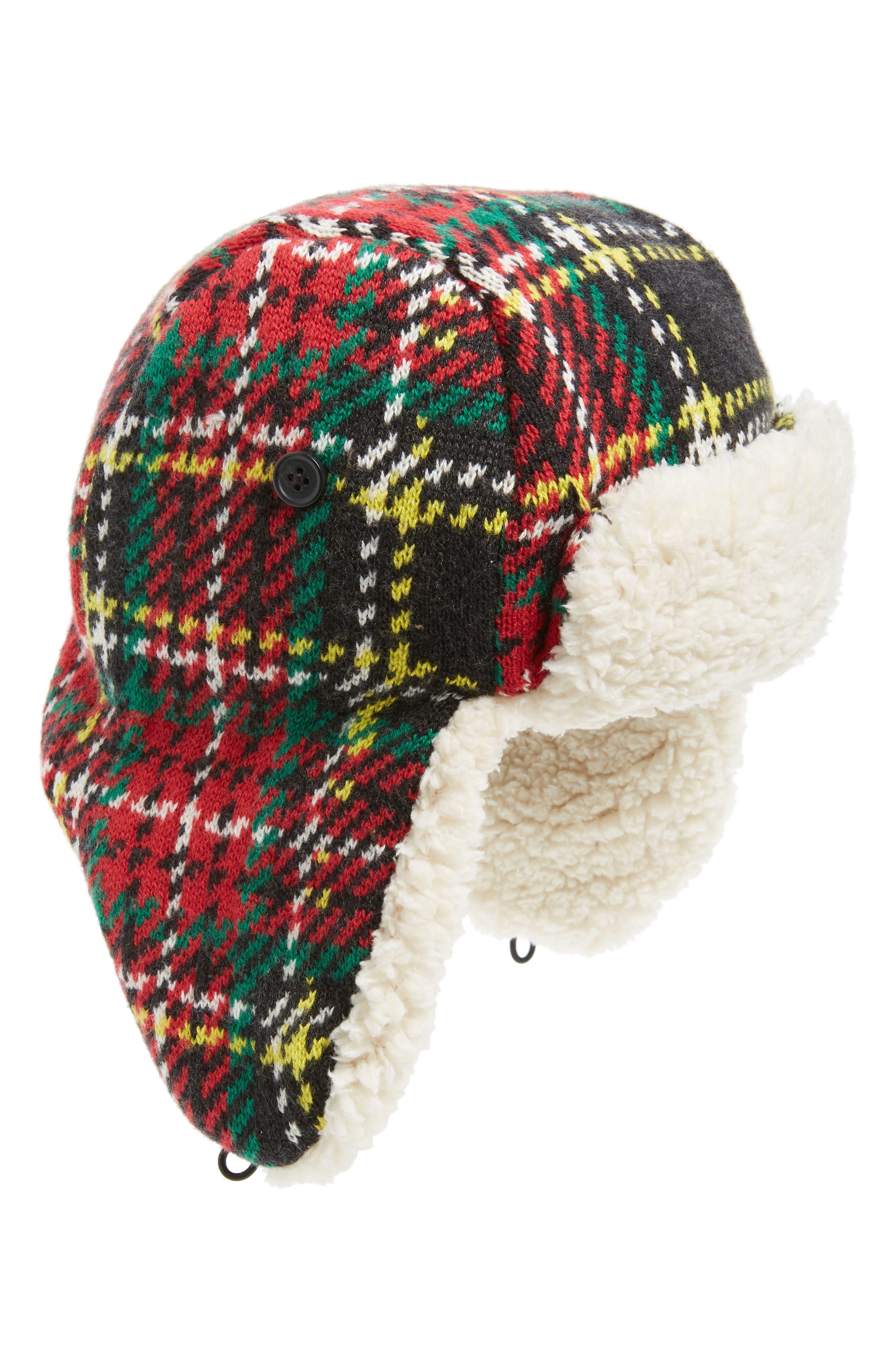 Stewart Tartan Fleece Lined Trapper Hat, Main, color, 600