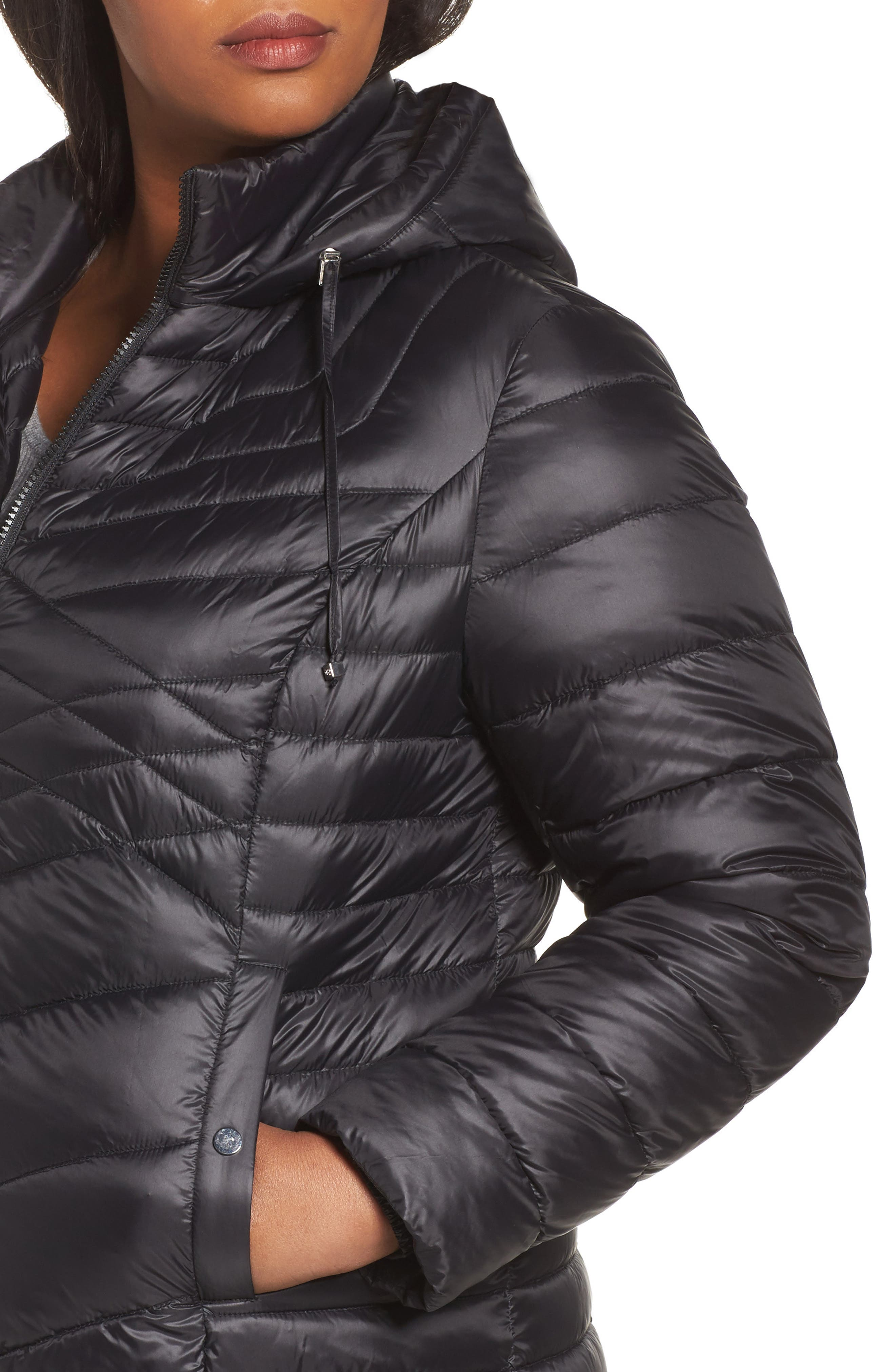 Hooded Down Blend Puffer Jacket,                             Alternate thumbnail 4, color,                             001
