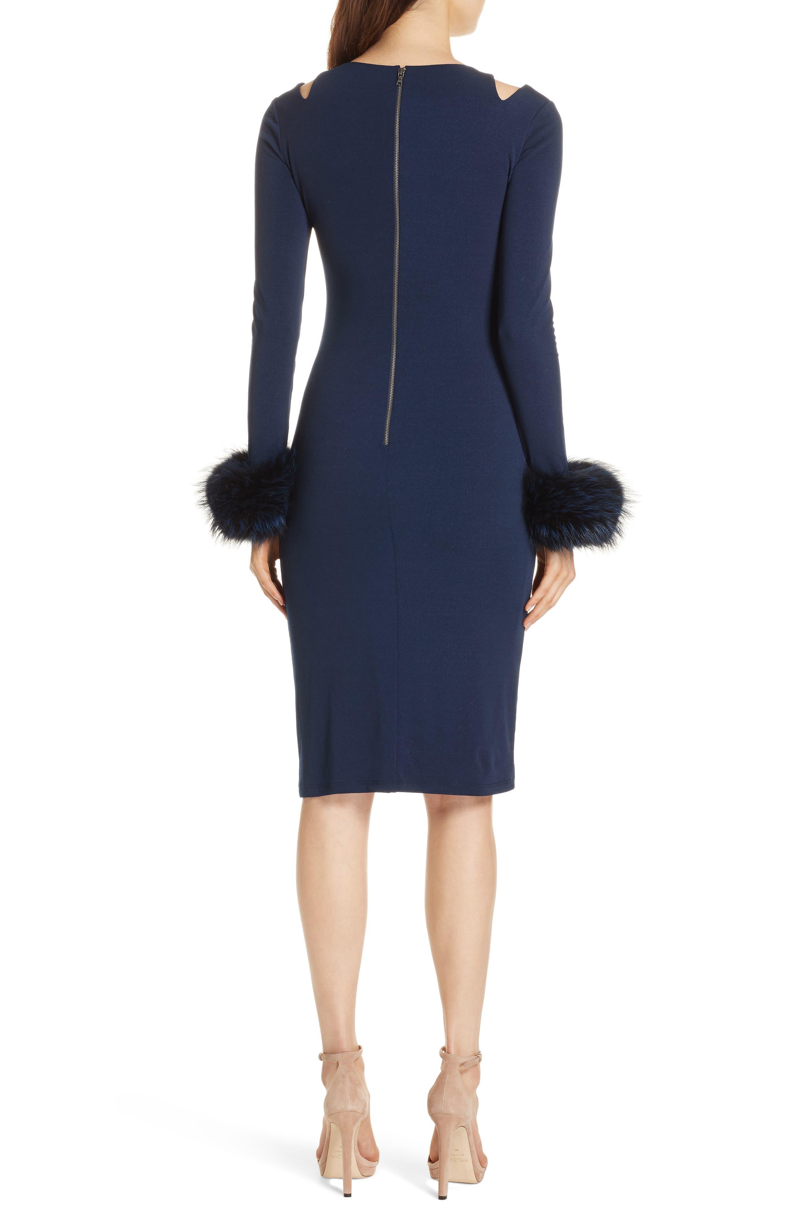 Tabitha Genuine Fox Fur Cuff Dress,                             Alternate thumbnail 2, color,                             400