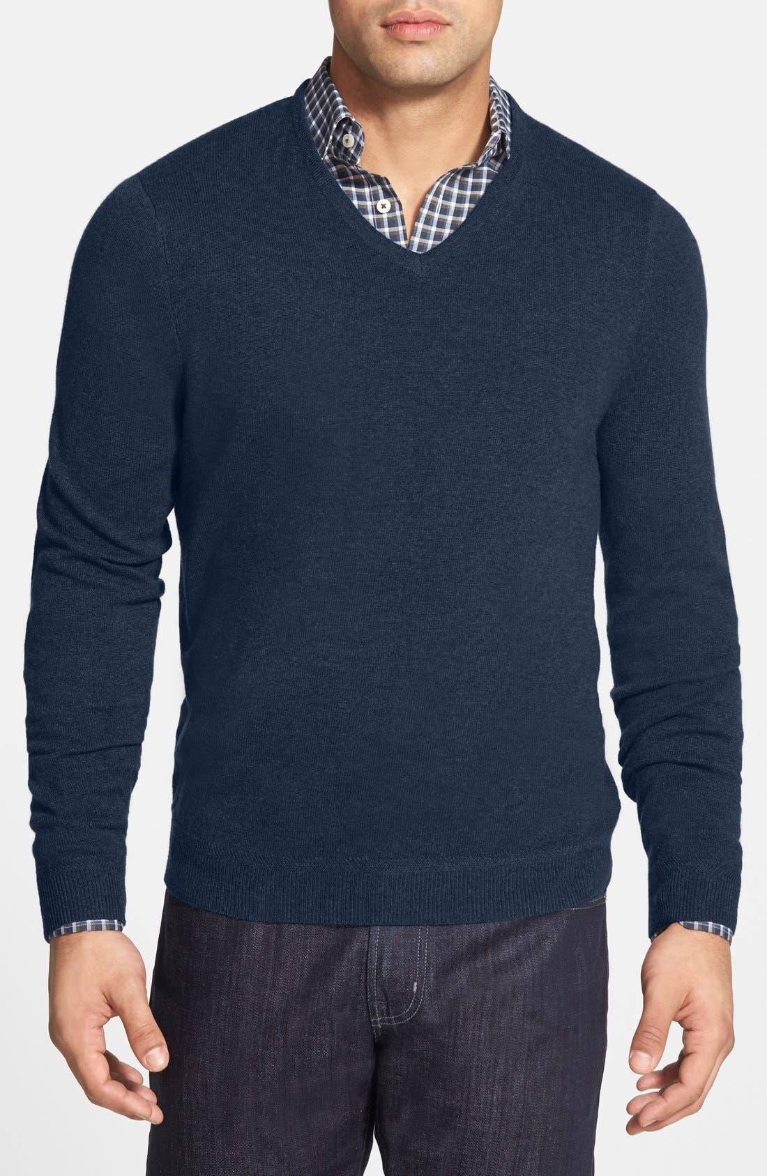 John W. Nordstrom Cashmere V-Neck Sweater,                             Main thumbnail 1, color,                             BLUE ESTATE HEATHER