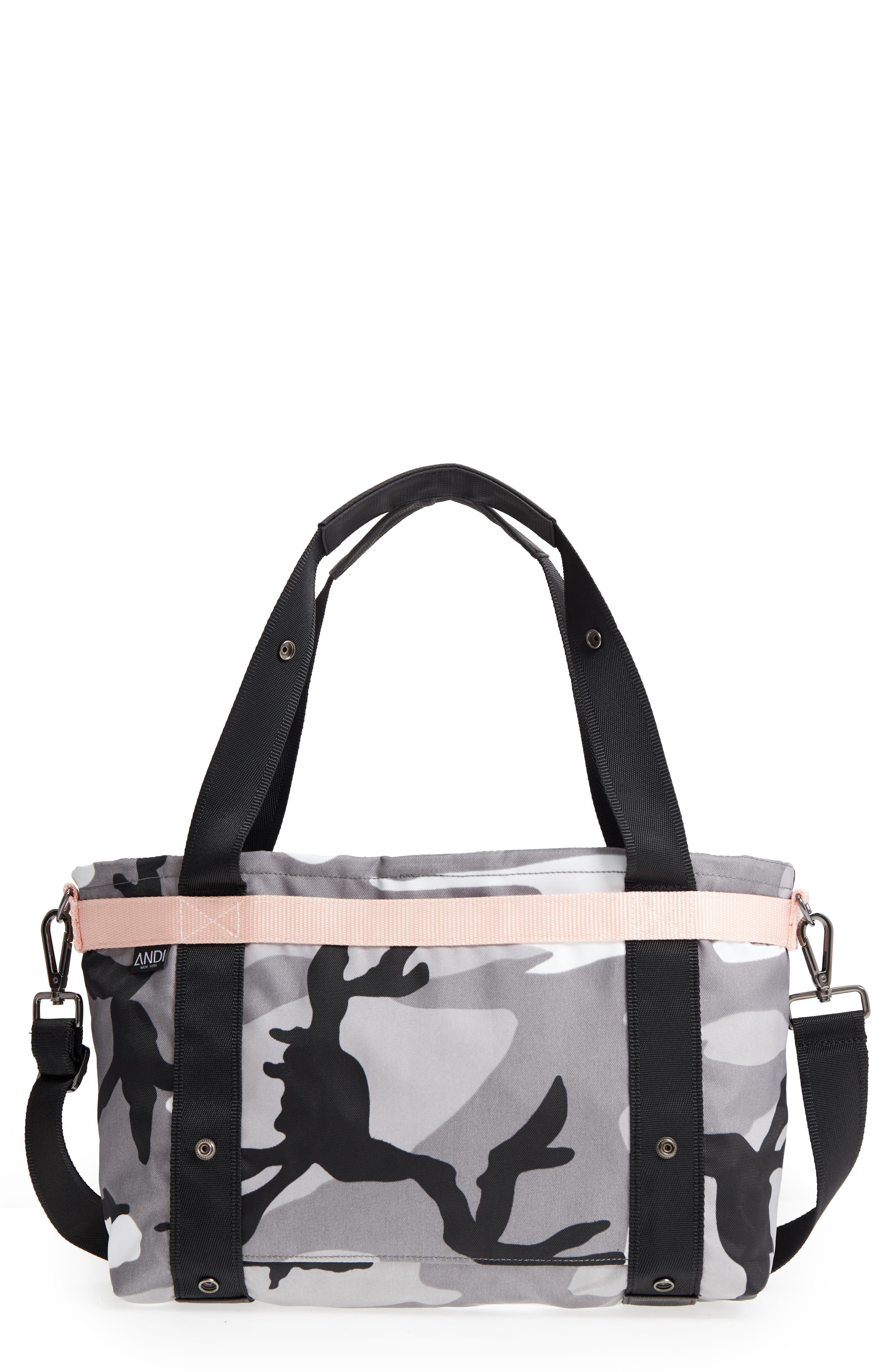 The ANDI Small Convertible Tote,                         Main,                         color, BLACK/ WHITE/ GRAY/ PINK