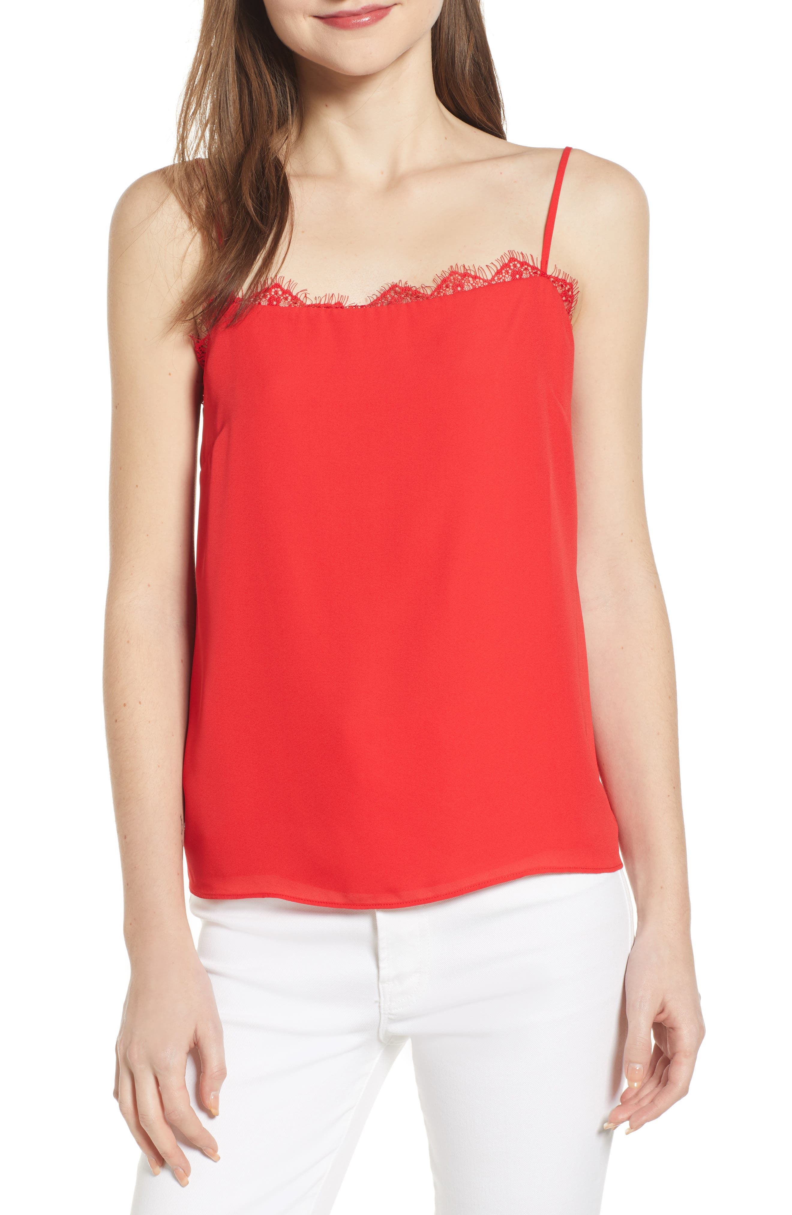 Socialite Lace Trim Camisole, Red