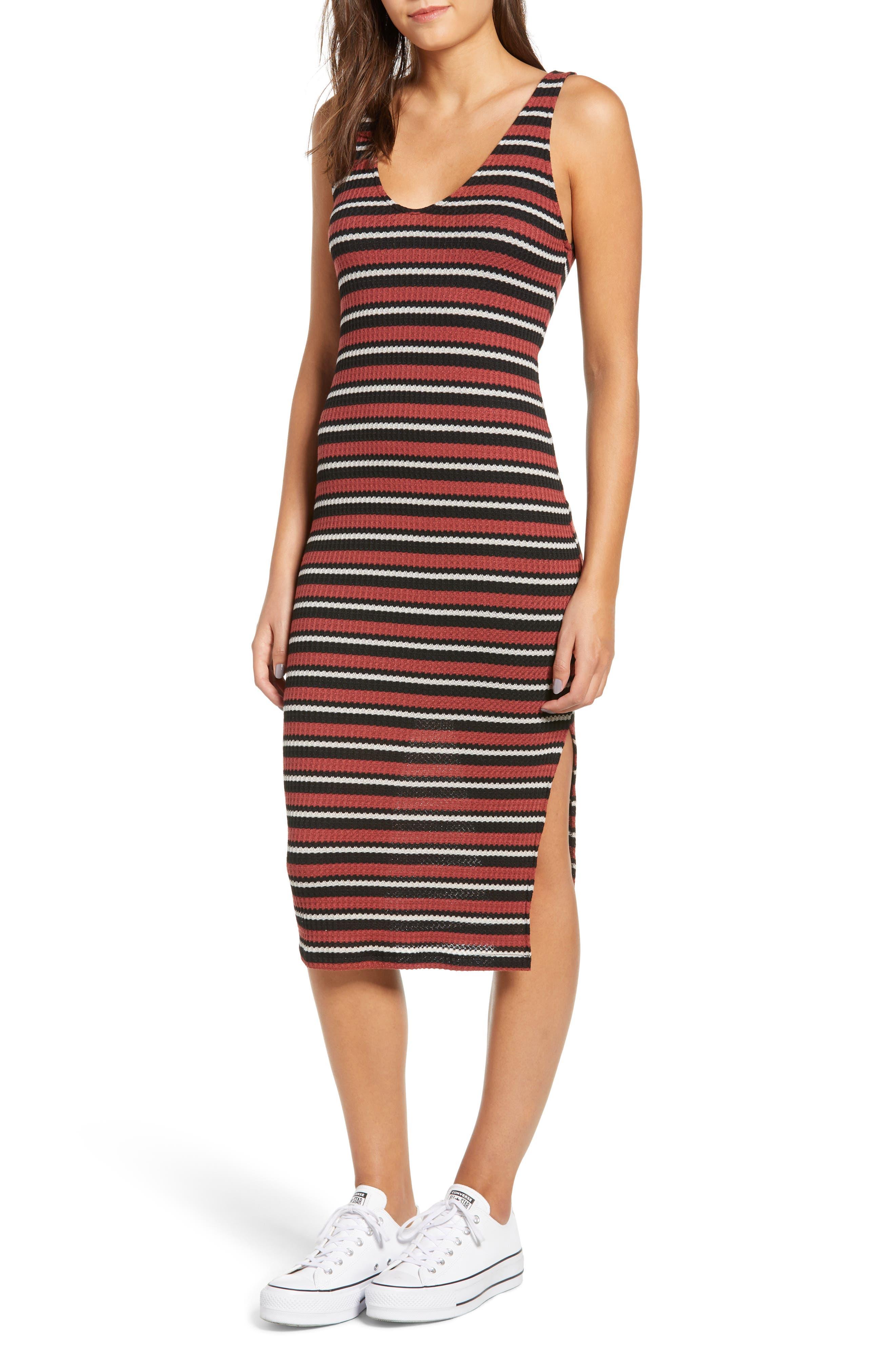 All In Favor Stripe Knit Tank Dress, Purple