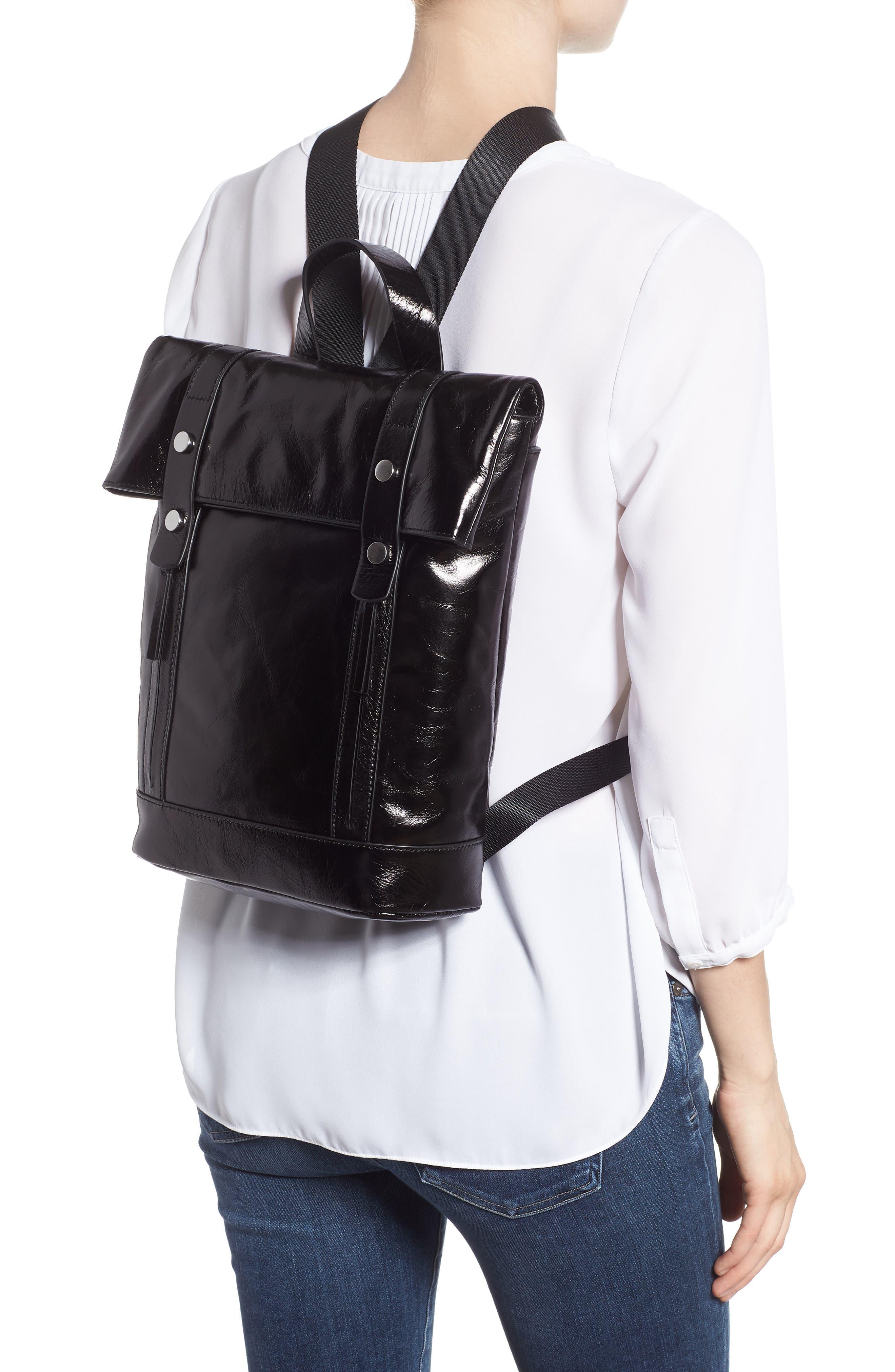 Remy Glazed Leather Backpack,                             Alternate thumbnail 2, color,                             BLACK