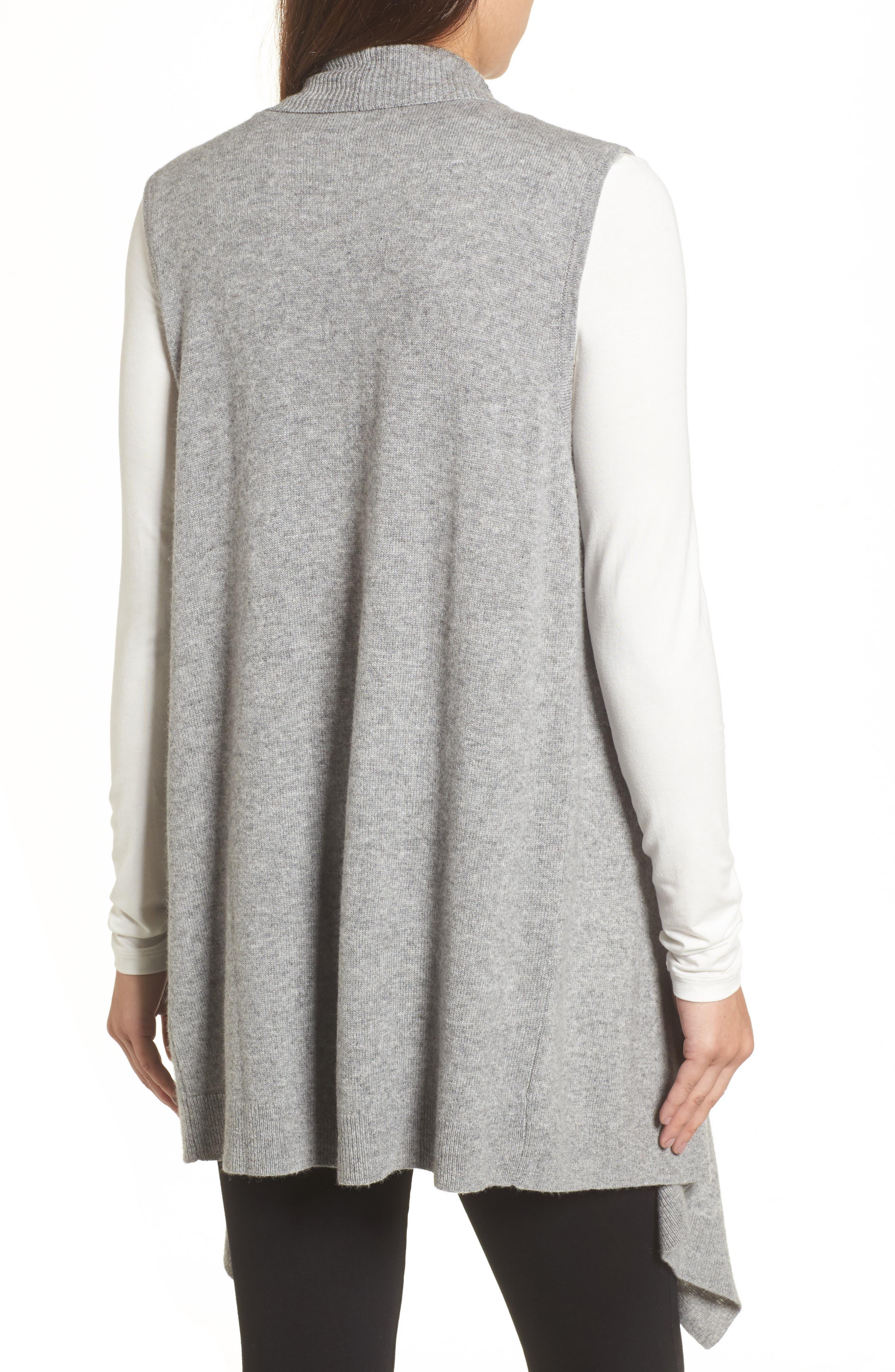 Wool & Cashmere Drape Front Sweater Vest,                             Alternate thumbnail 9, color,