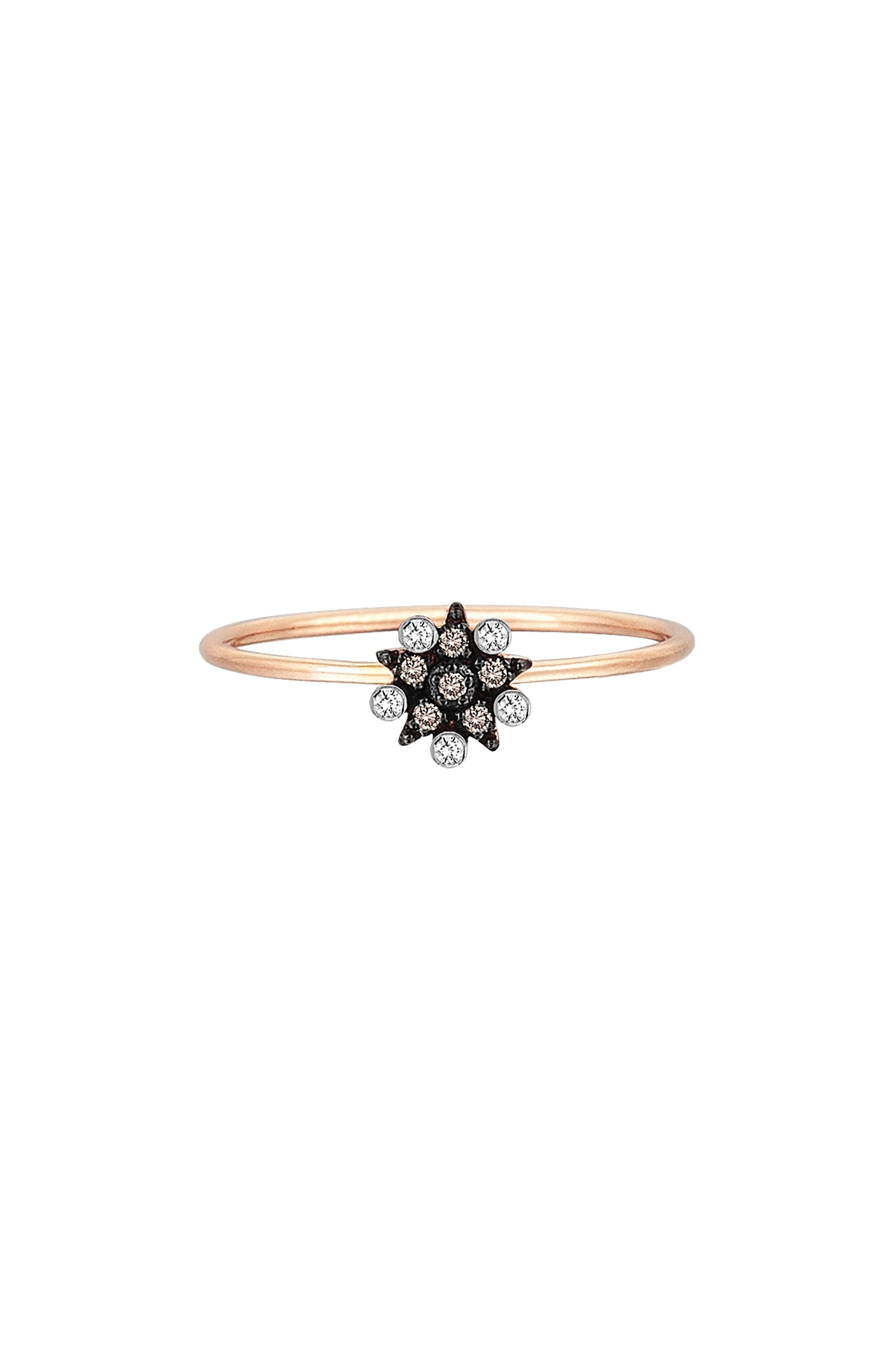 Small Eclectic Diamond Star Stacking Ring,                         Main,                         color, ROSE GOLD