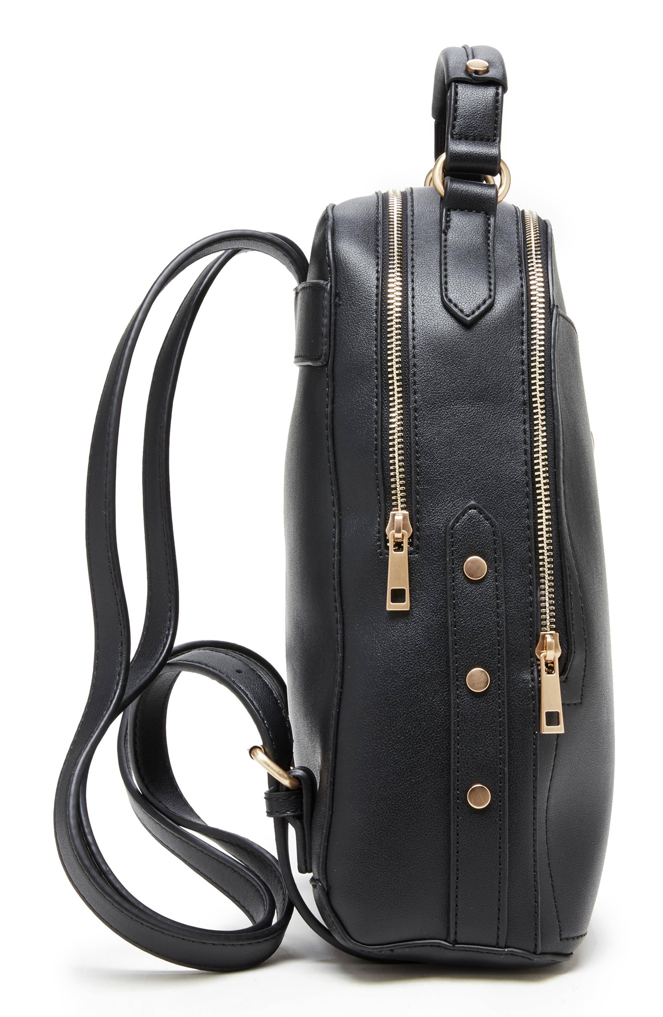 Hingi Faux Leather Backpack,                             Alternate thumbnail 3, color,                             BLACK