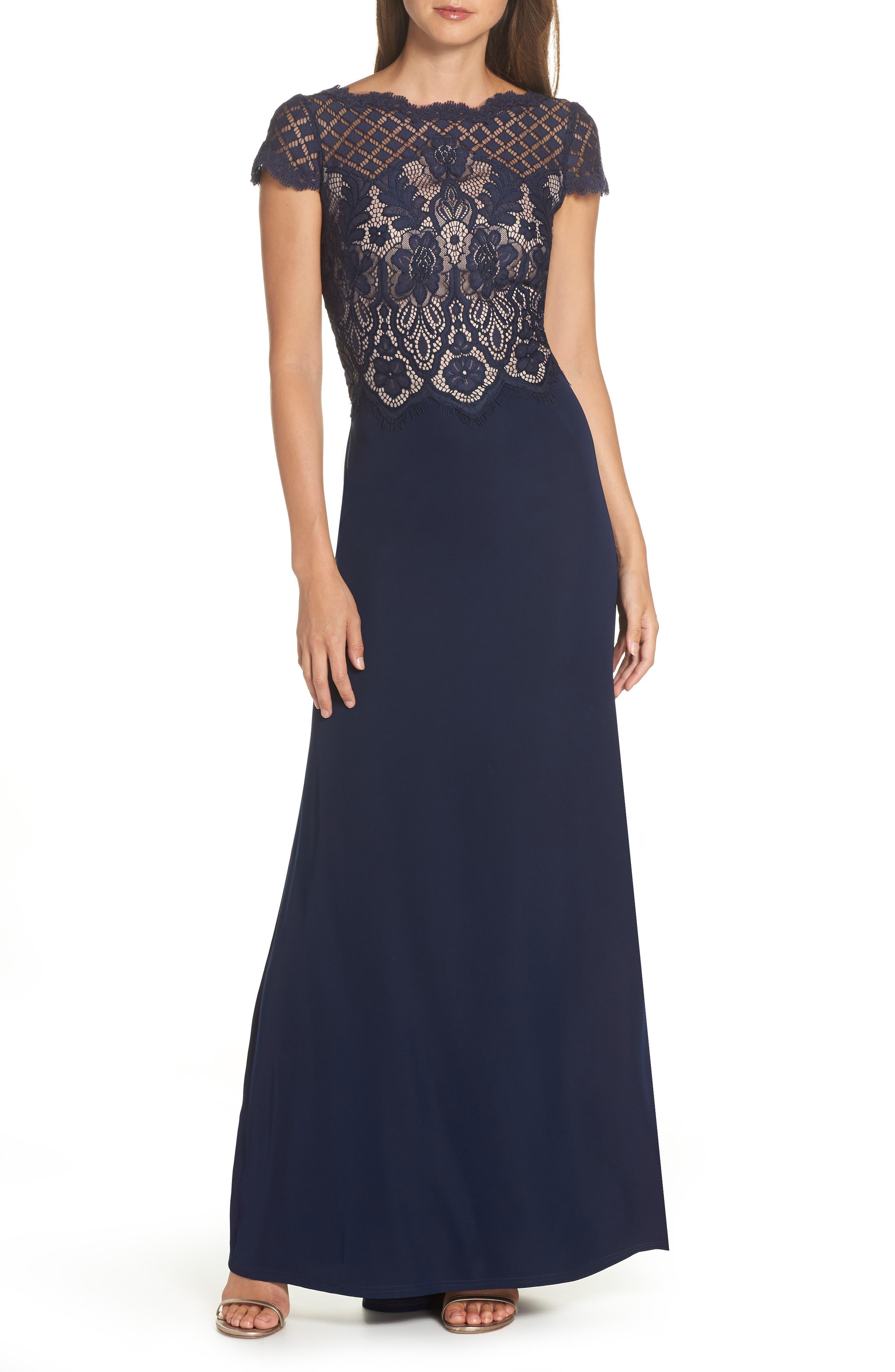 Lace & Crepe A-Line Gown,                             Main thumbnail 1, color,                             NAVY/ PETAL
