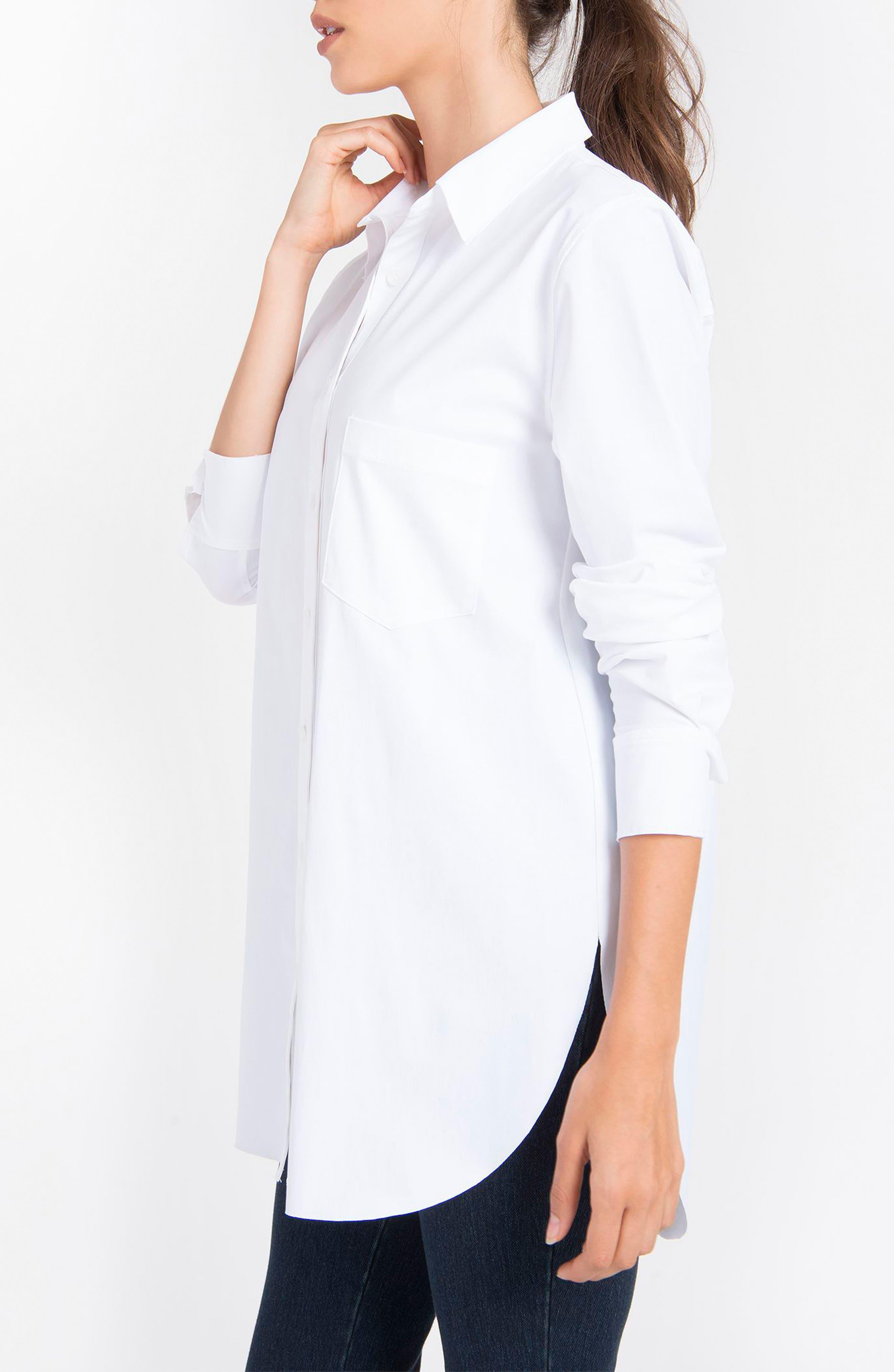 LYSSÉ,                             Schiffer Shirt,                             Alternate thumbnail 4, color,                             WHITE