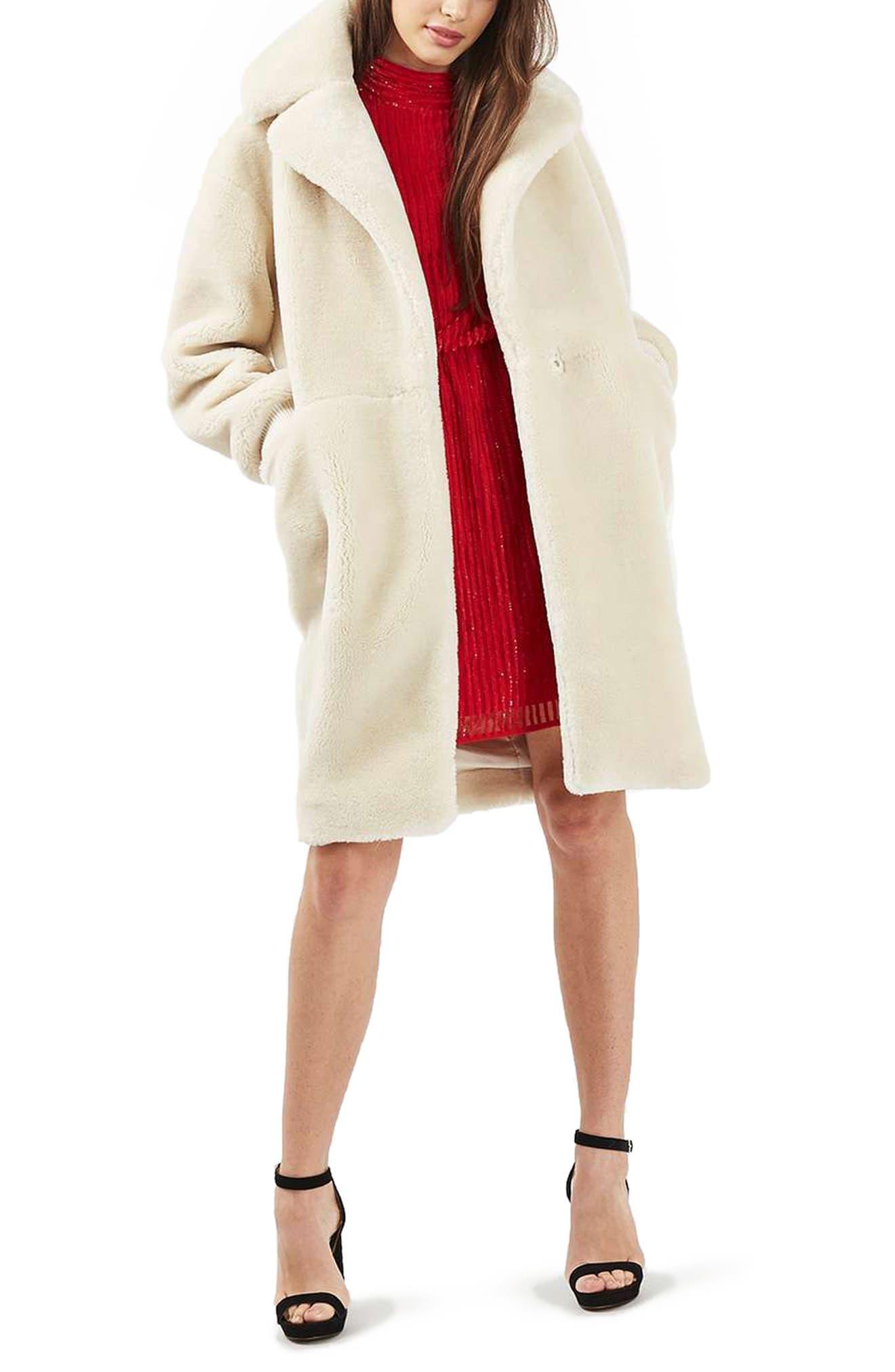 TOPSHOP,                             Polar Bear Faux Fur Coat,                             Alternate thumbnail 5, color,                             900
