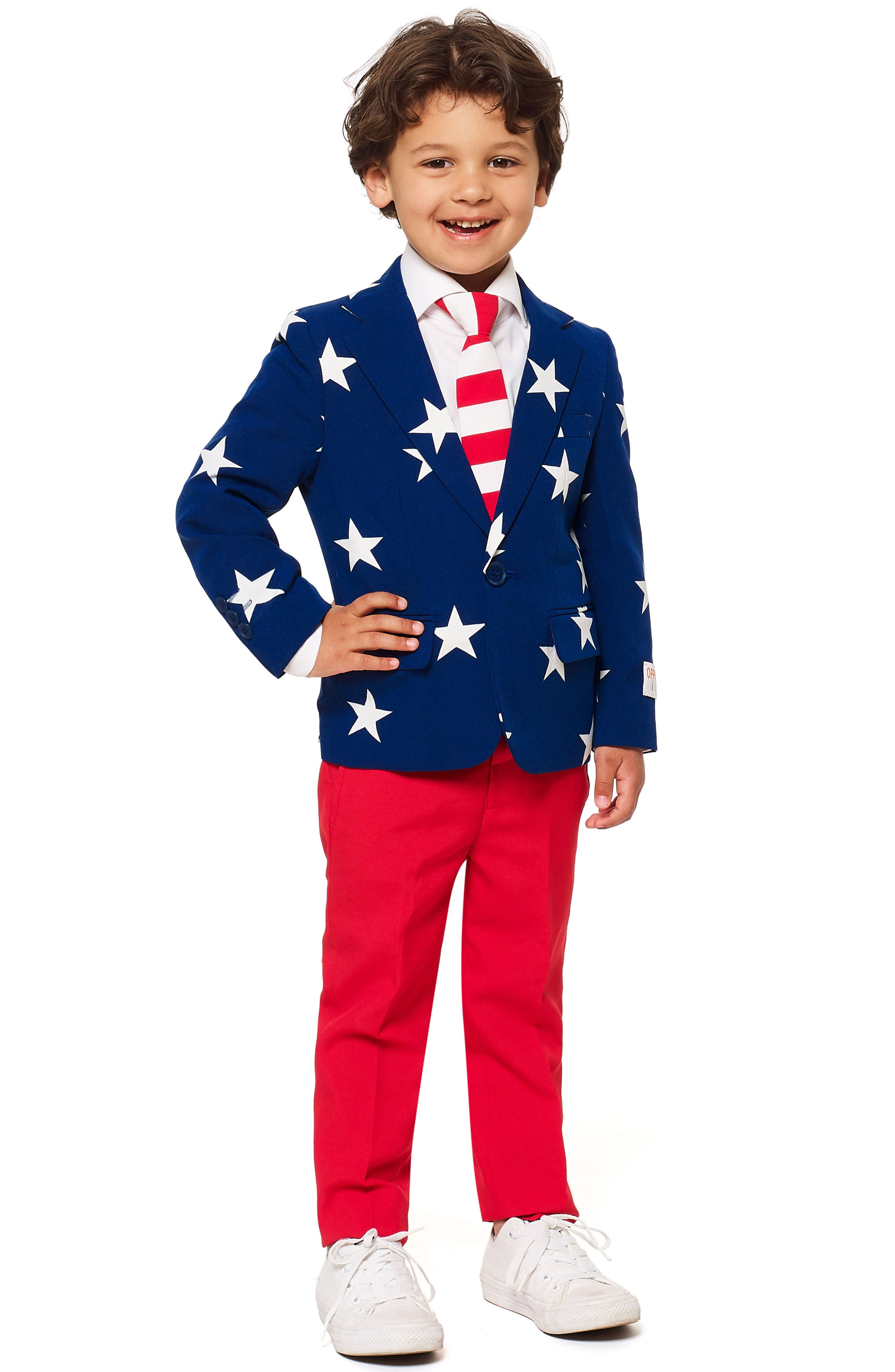 Stars & Stripes Two-Piece Suit with Tie,                         Main,                         color, BLUE