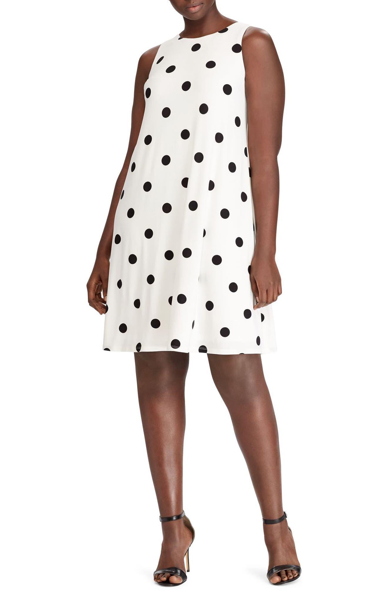 Peninsula Dot A-Line Dress,                             Main thumbnail 1, color,                             101