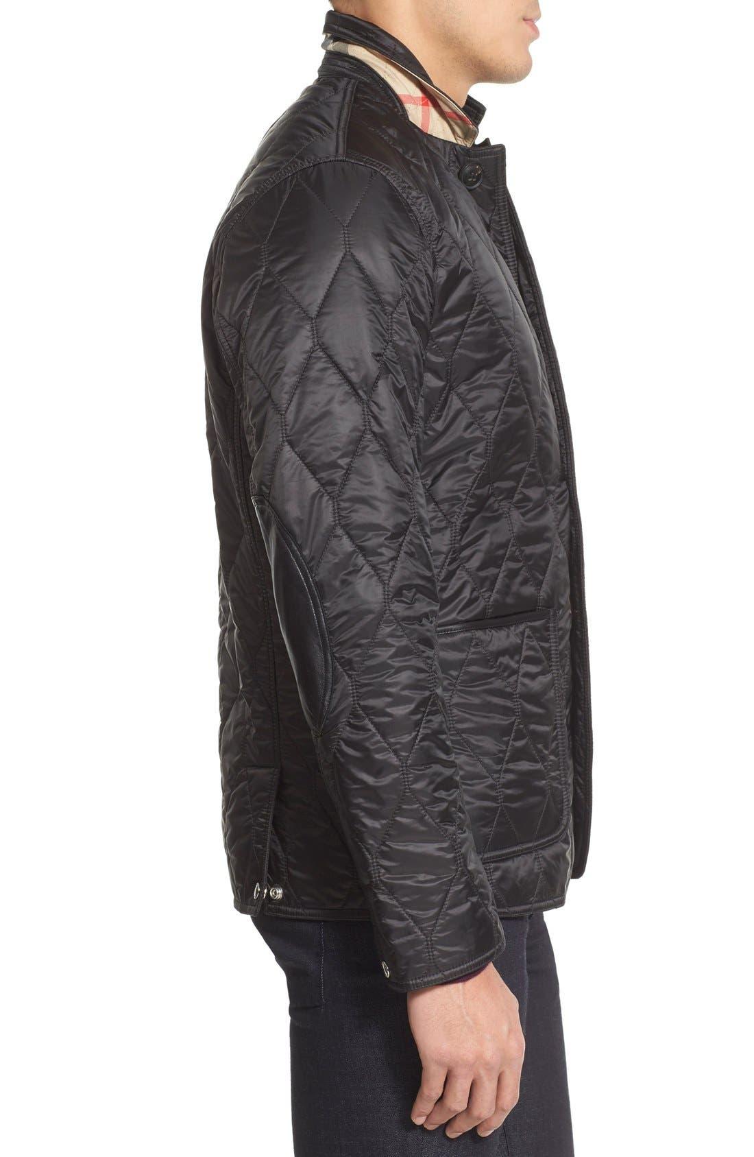 Gillington Water Resistant Quilted Jacket,                             Alternate thumbnail 5, color,                             BLACK